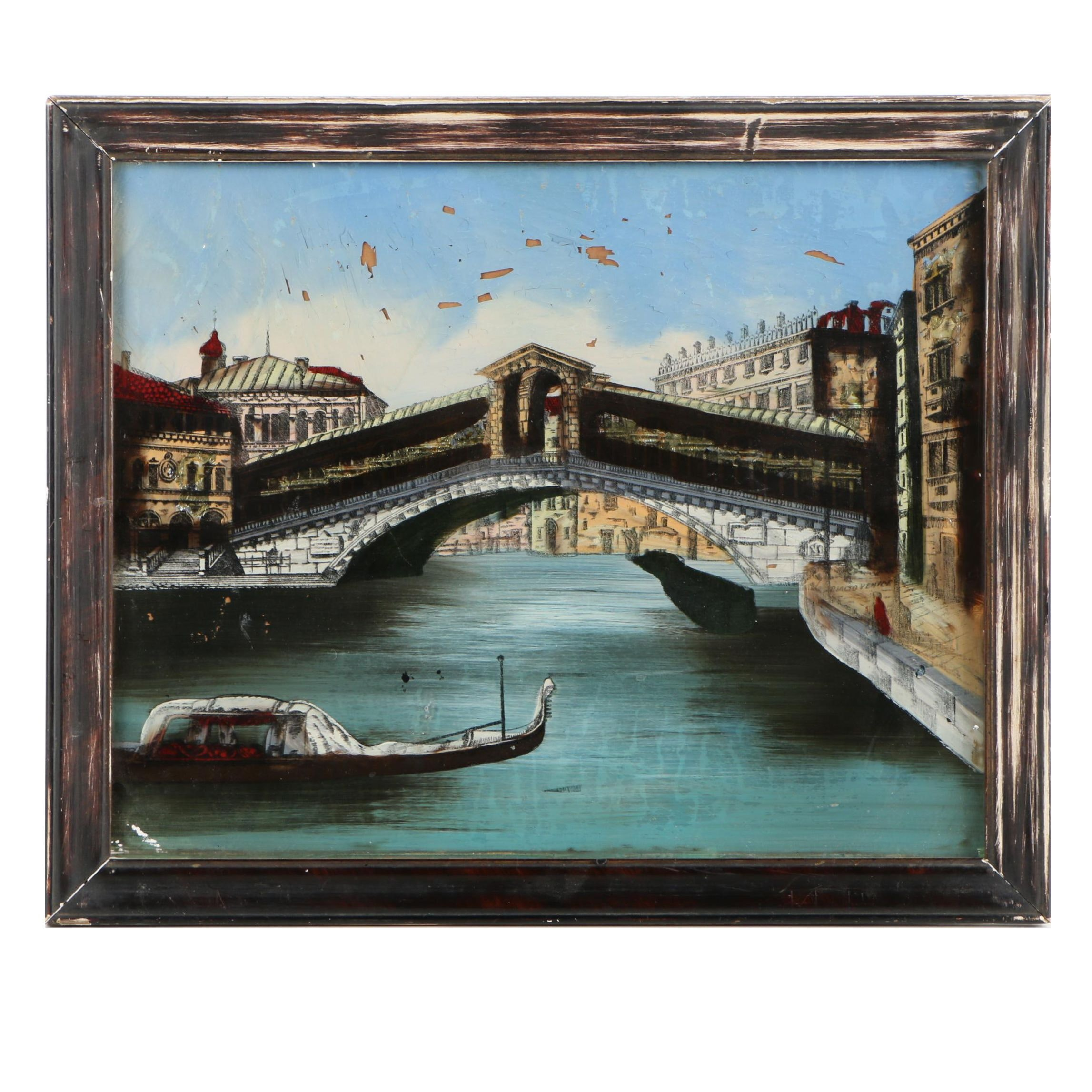 Reverse Oil Painting on Glass of Italian Canal