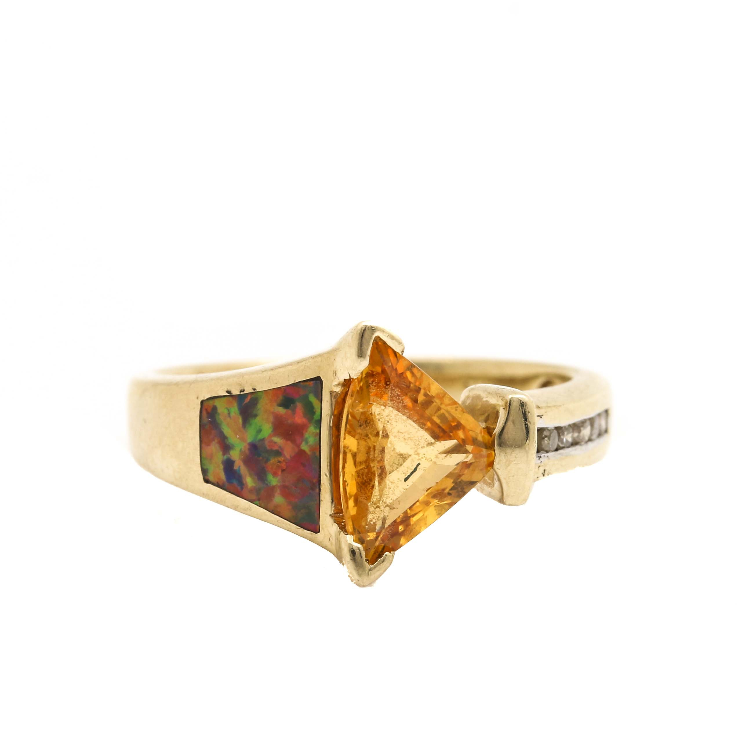 14K Yellow Gold Synthetic Orange Sapphire, Synthetic Opal and Diamond Ring