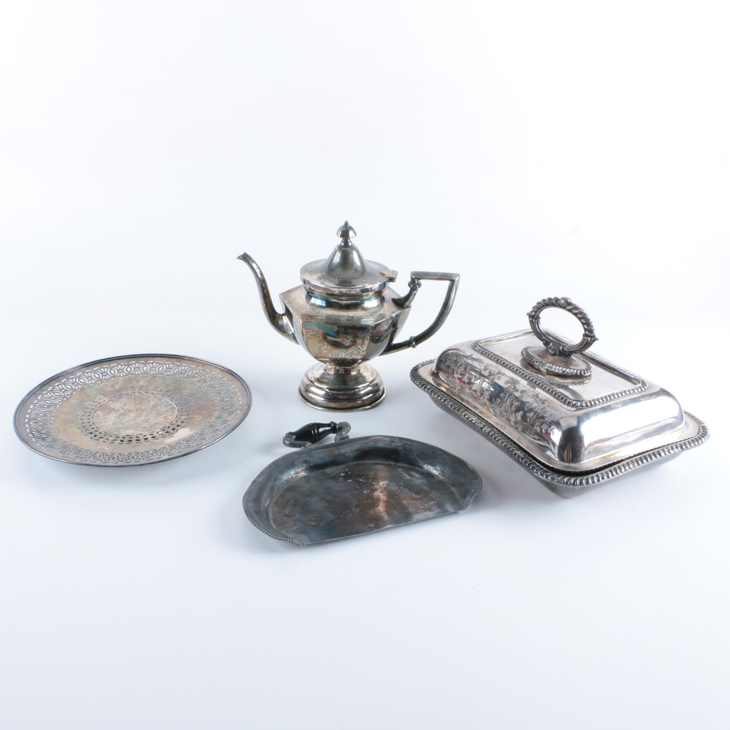 EG Webster & Son Silver Plate Crumb Catcher and Silver Plate Serveware