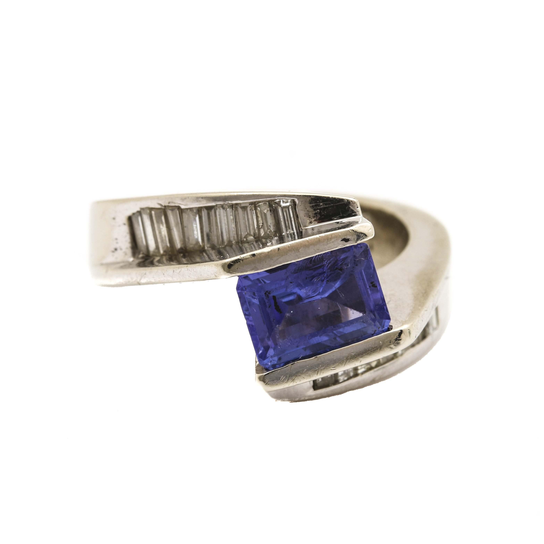 14K White Gold Tananite and Diamond Ring