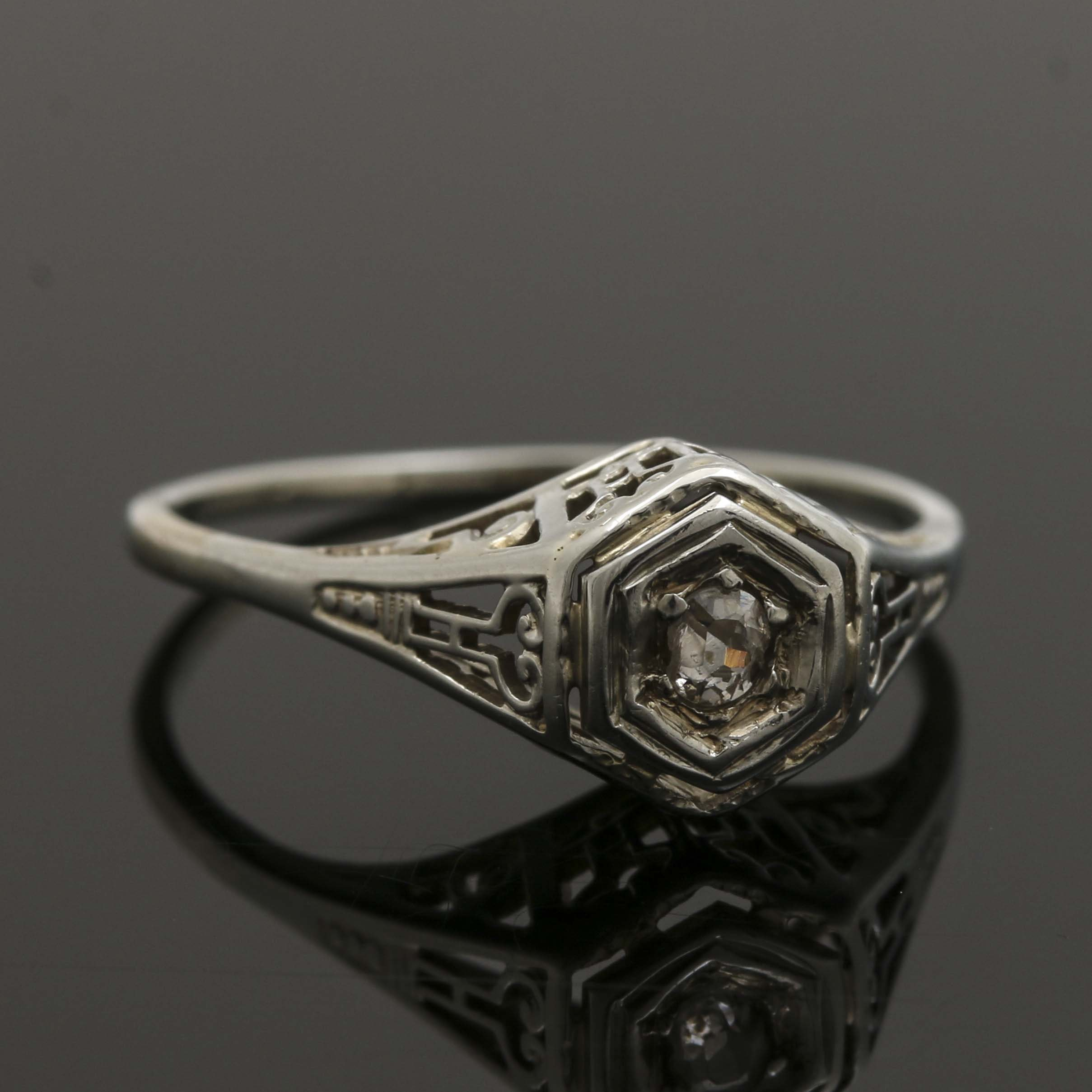 Late Edwardian 14K and 18K White Gold Diamond Ring