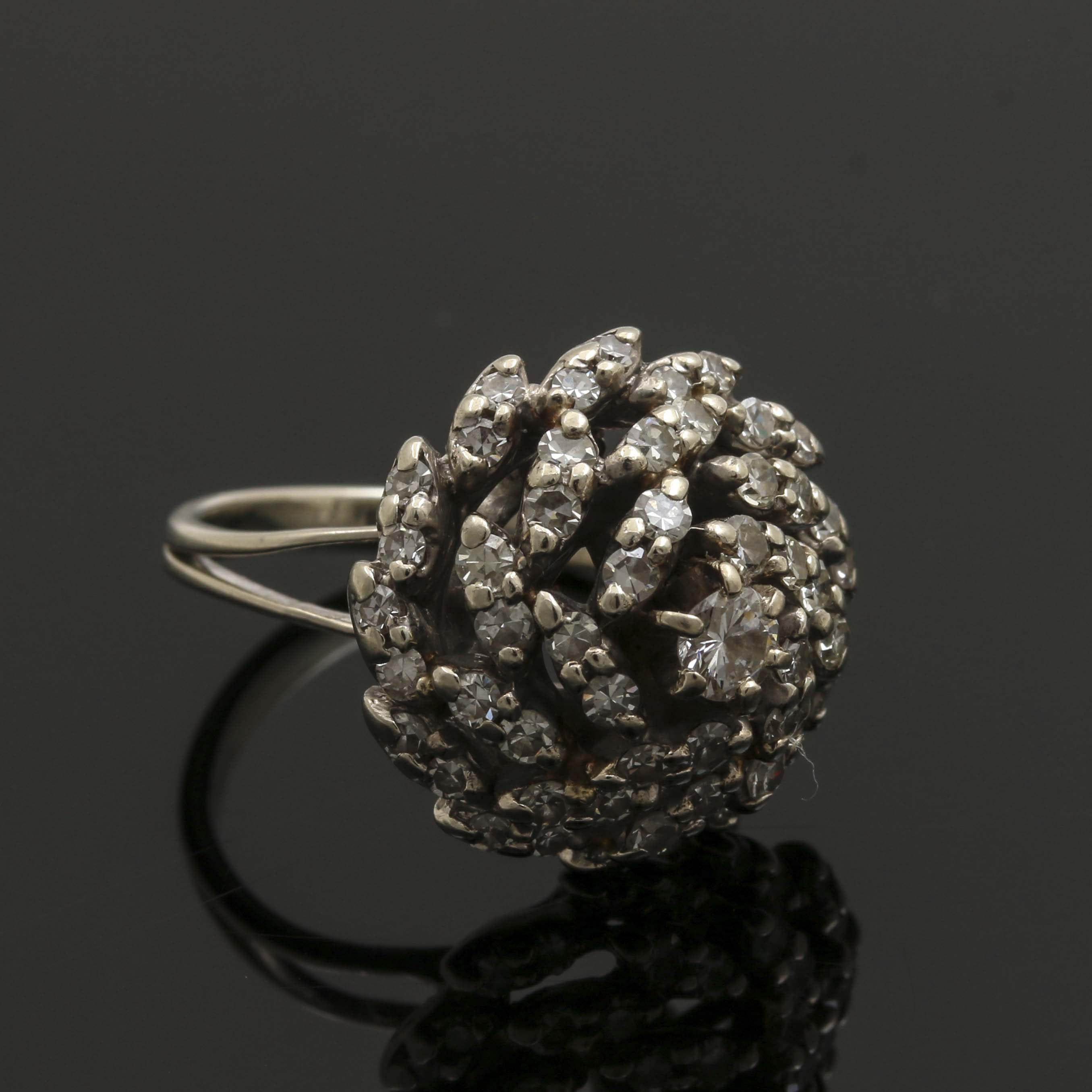 14K White Gold Diamond Cocktail Ring