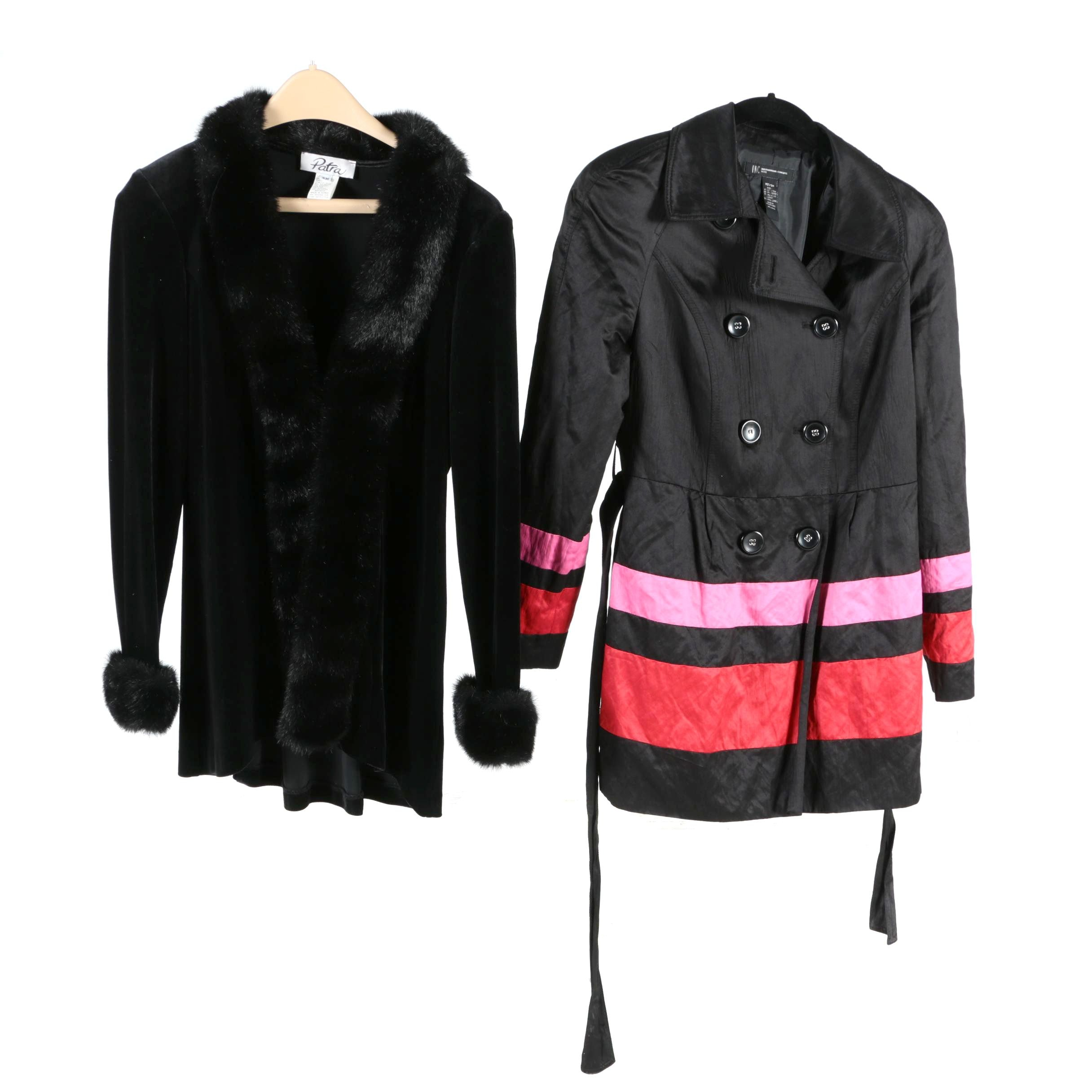 Women's Faux Fur and Double-Breasted Coat