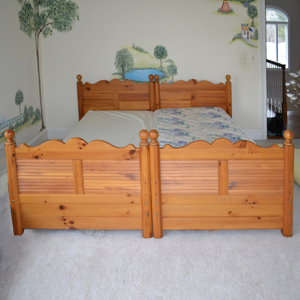 Louvered Pine Bed Frame