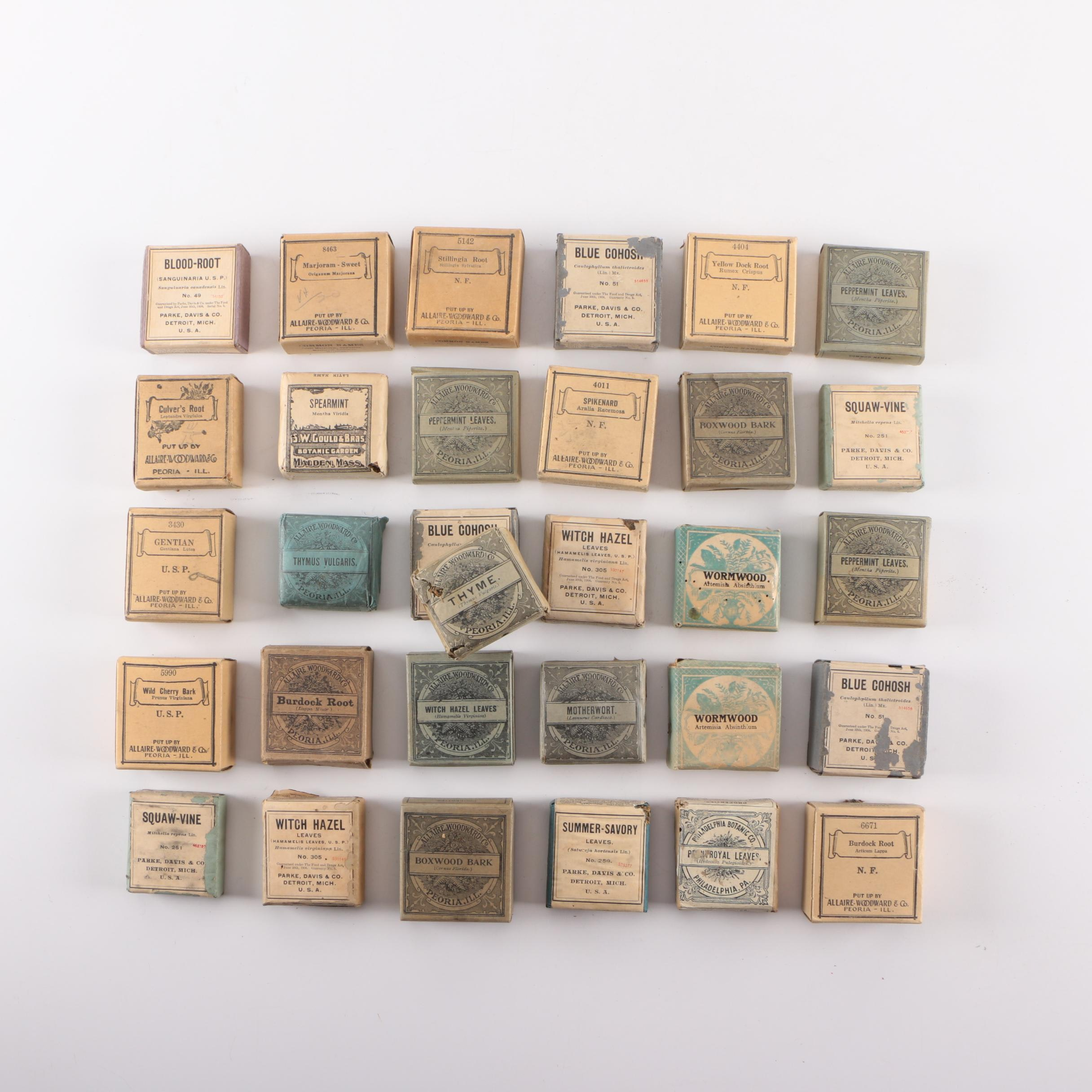 Vintage Paper and Cardboard Packets of Spices and Herbs