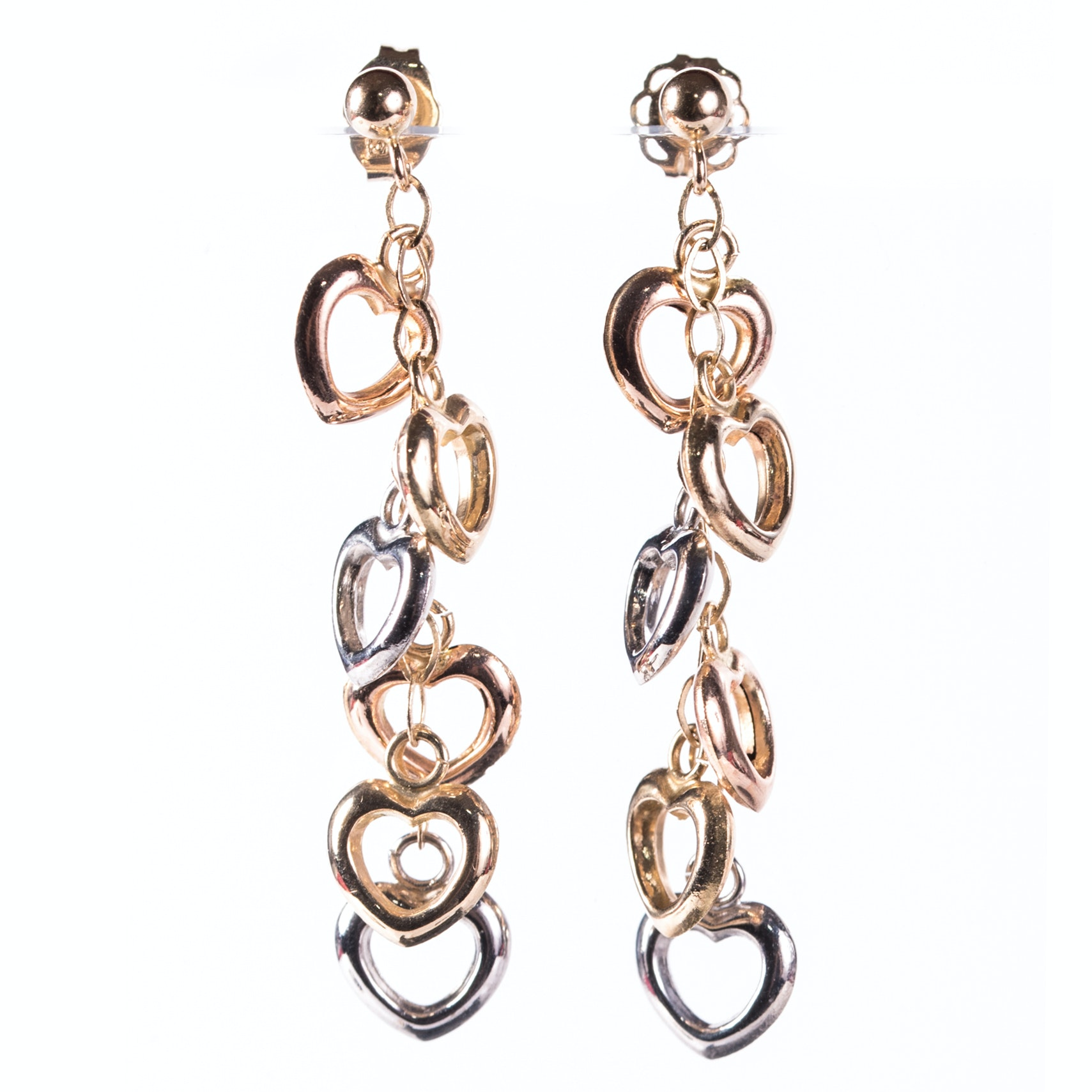 14K Yellow, Rose, and White Gold Heart Earrings