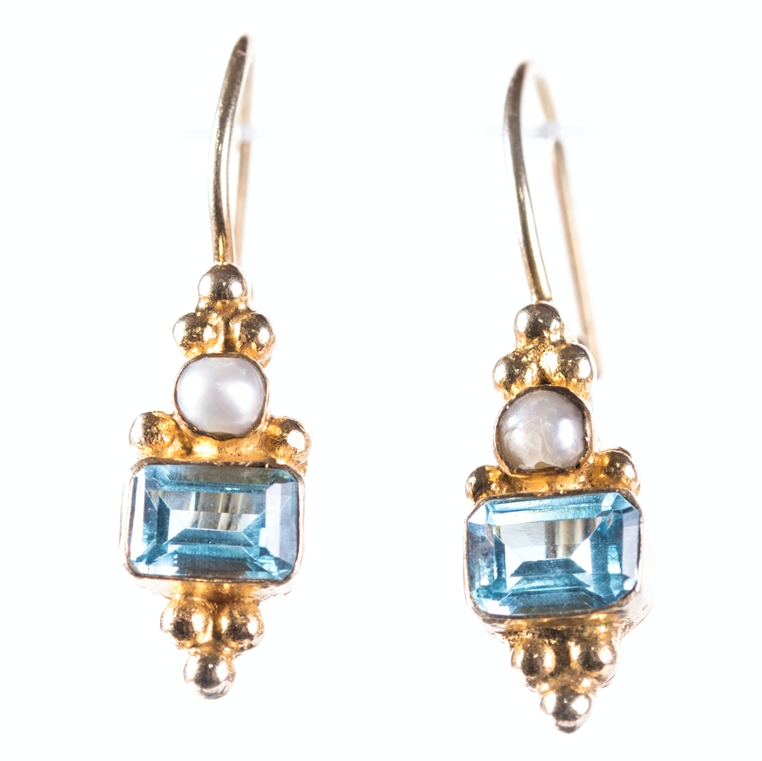 Sterling Silver Blue Topaz and Pearl Earrings with Gold Wash