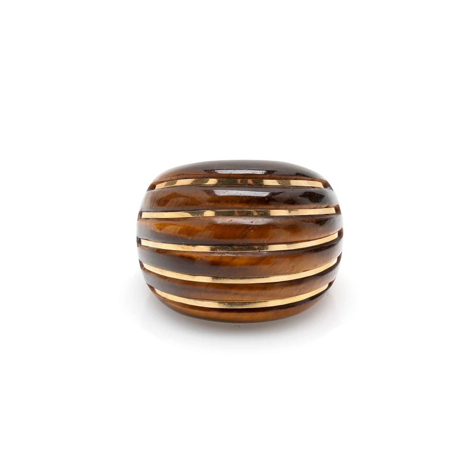 Milor 14K Yellow Gold Tiger's Eye Ring