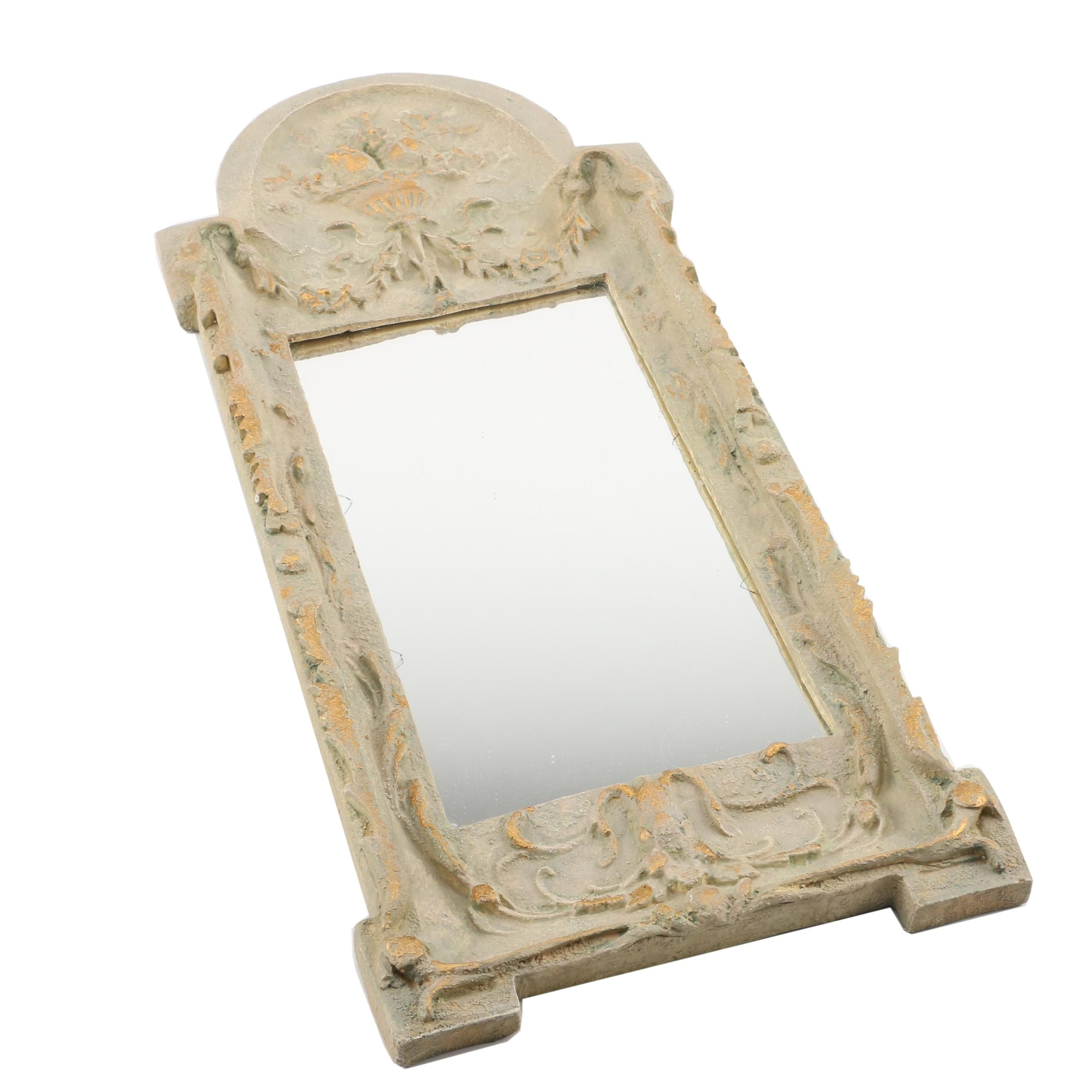 Distressed Finish Neoclassical Style Wall Mirror