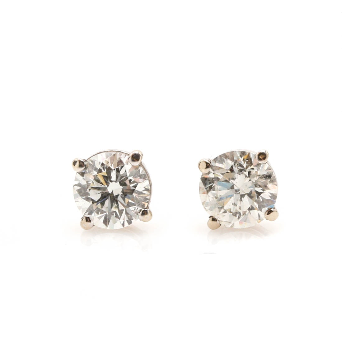 14K White Gold 0.99 CTW Diamond Stud Screw Back Earrings