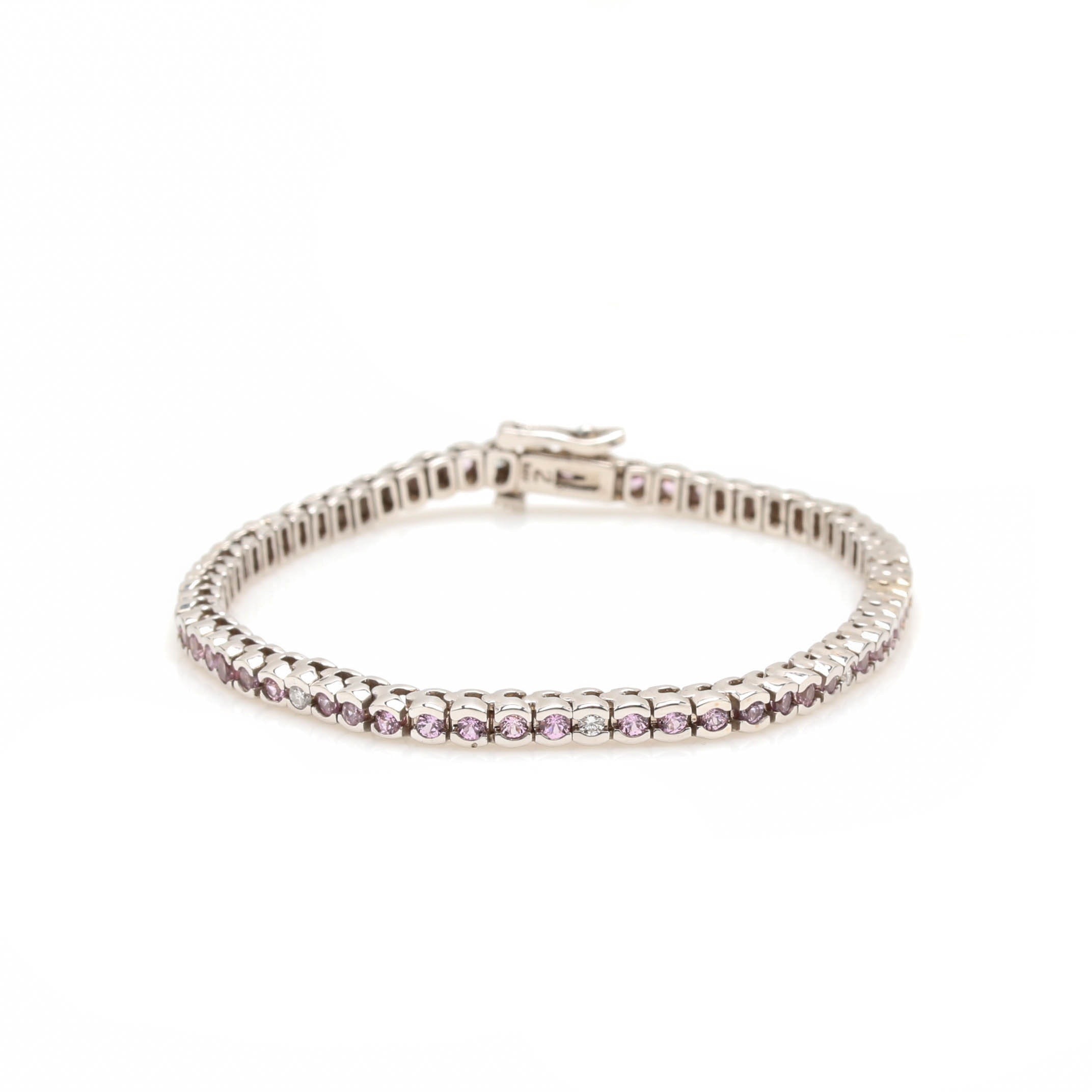 14K White Gold Pink Sapphire and Diamond Tennis Bracelet