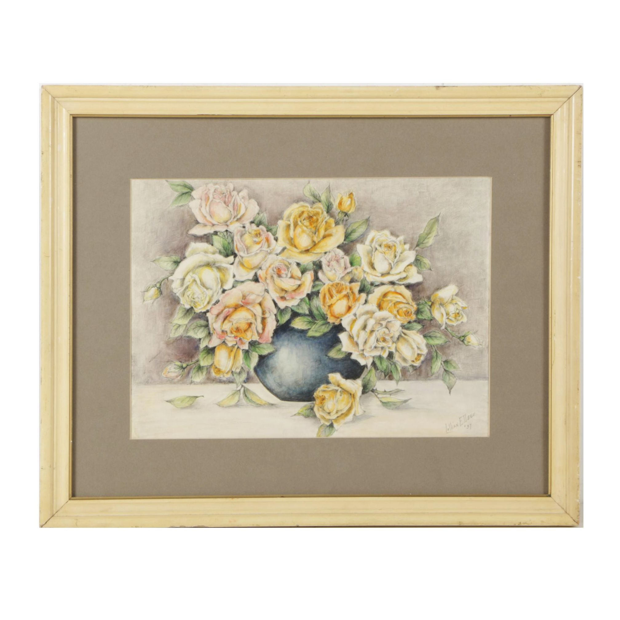 1937 Watercolor Painting with Graphite of Roses