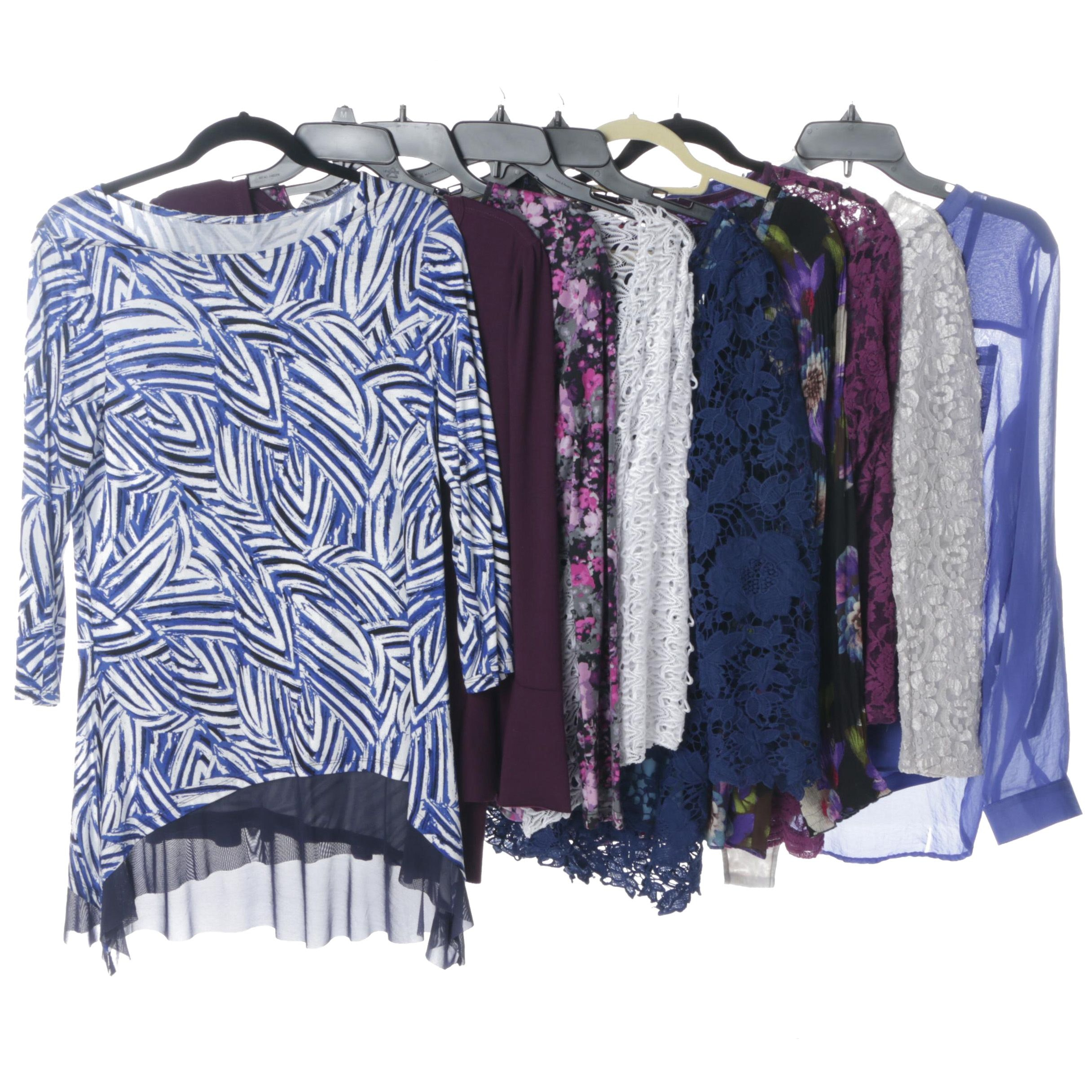 Women's Separates in Blue, Violet, Black and White