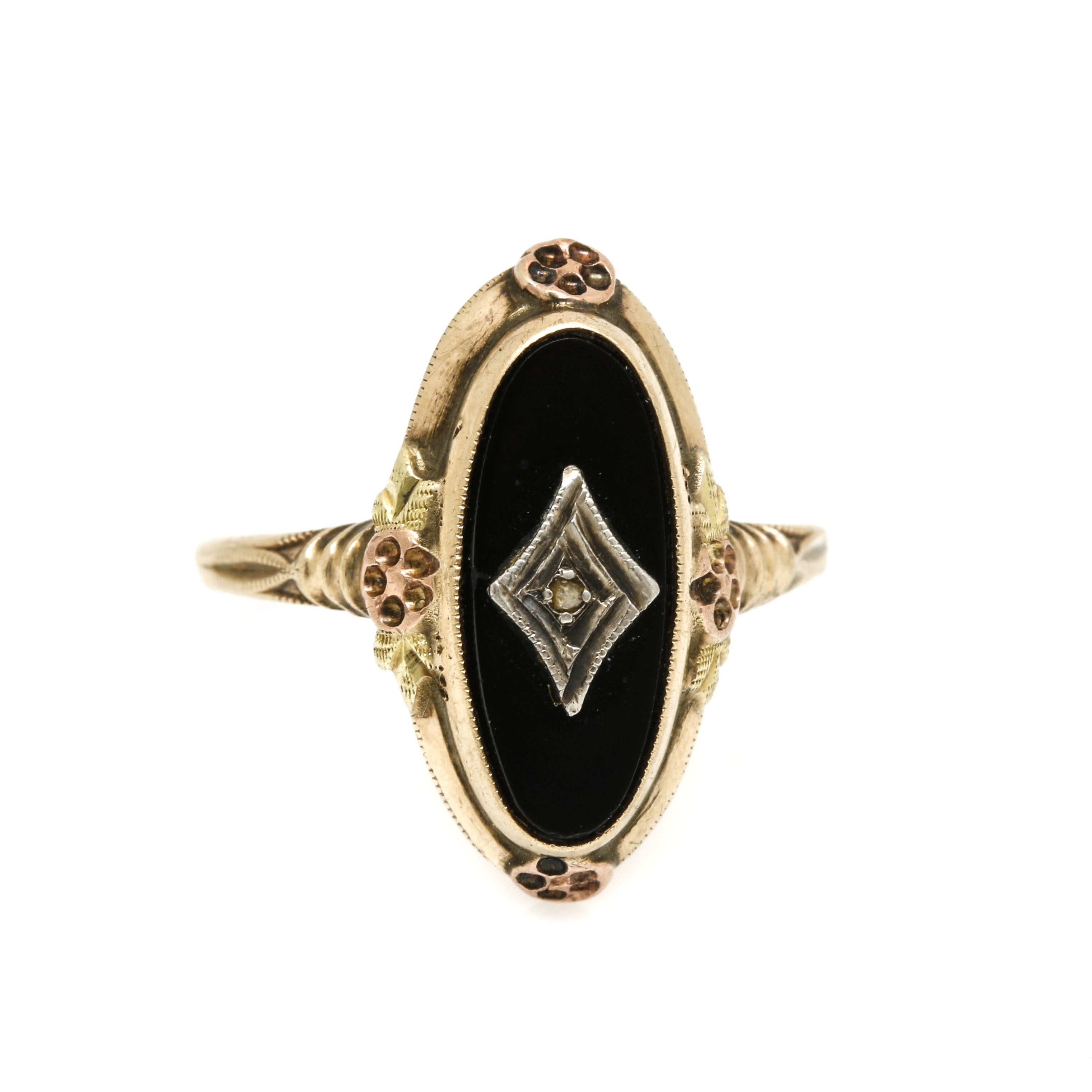 Victorian Revival Vintage 10K Yellow Gold Black Onyx and Rose Cut Diamond Ring