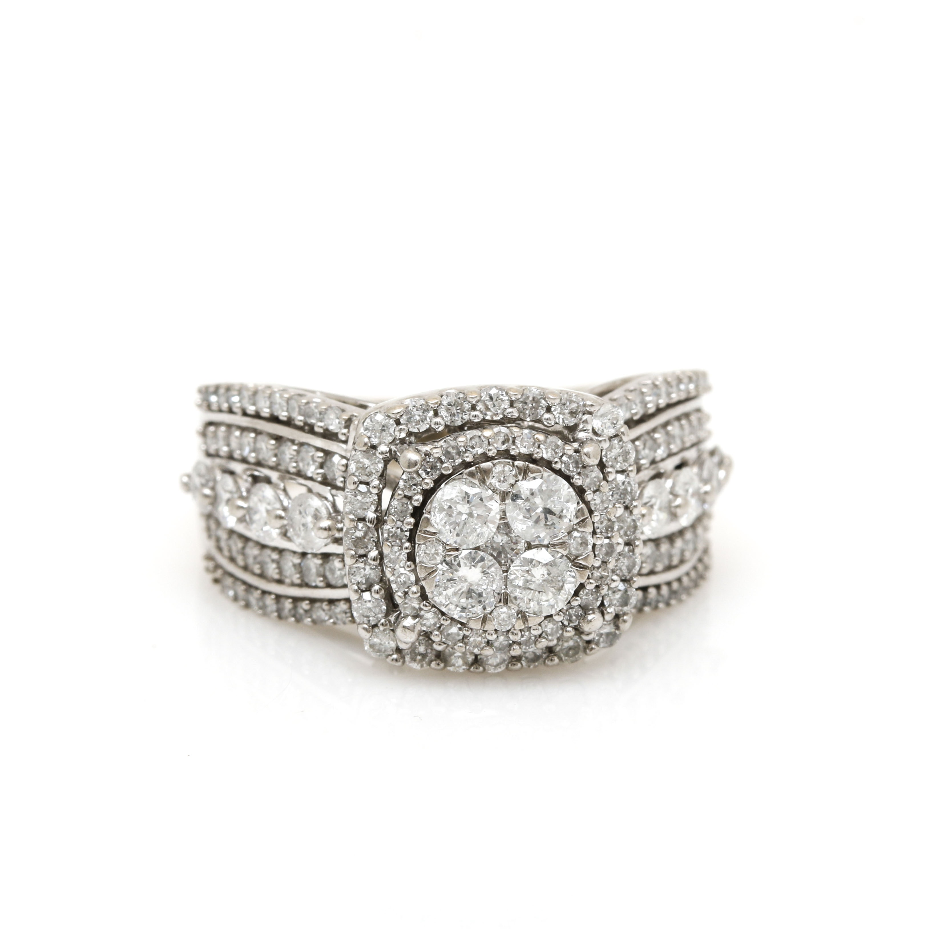 10K White Gold 1.84 CTW Diamond Illusion Set Ring