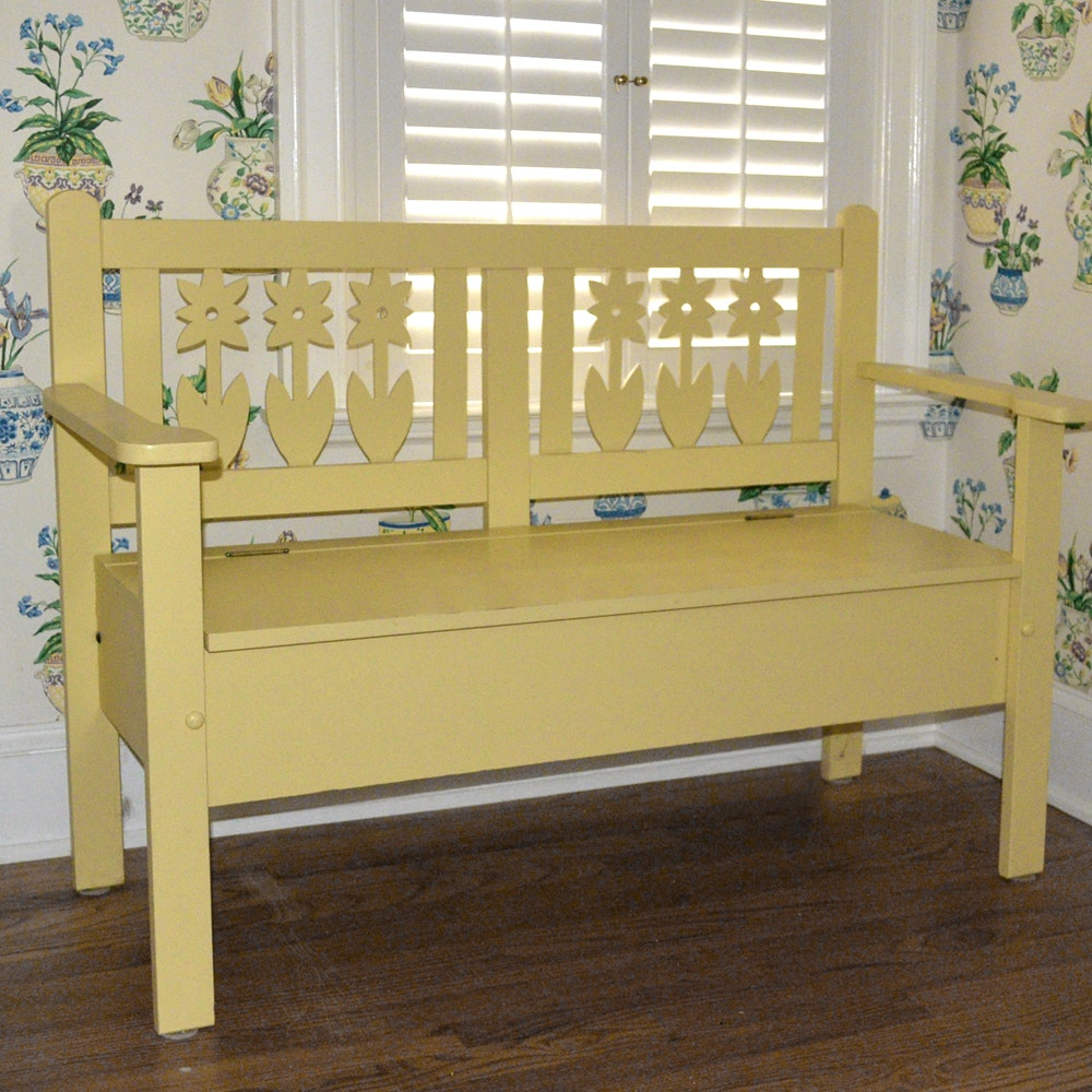 Decorative Painted Bench with Storage