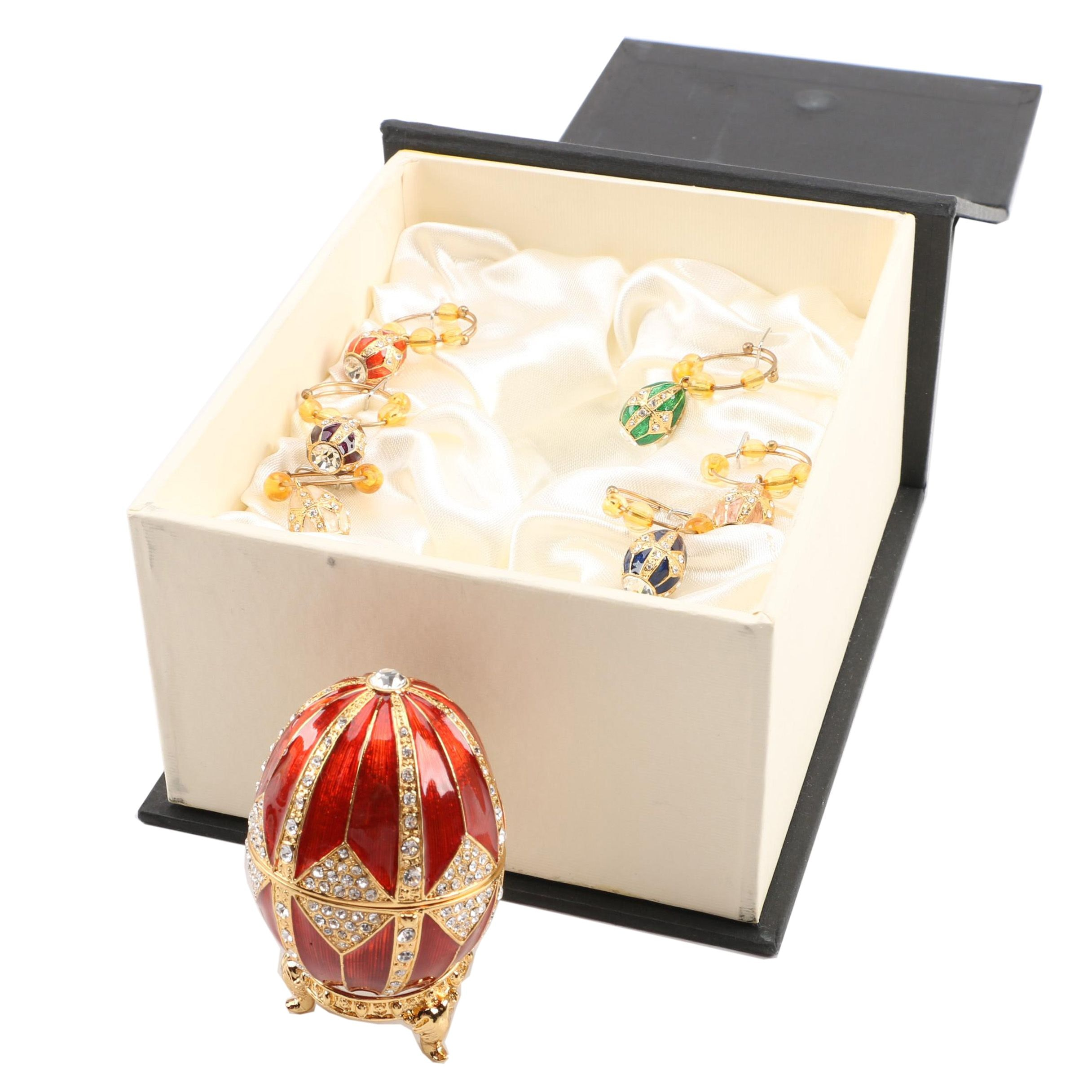 Fitz and Floyd Enamel Egg with Matching Wine Glass Charms