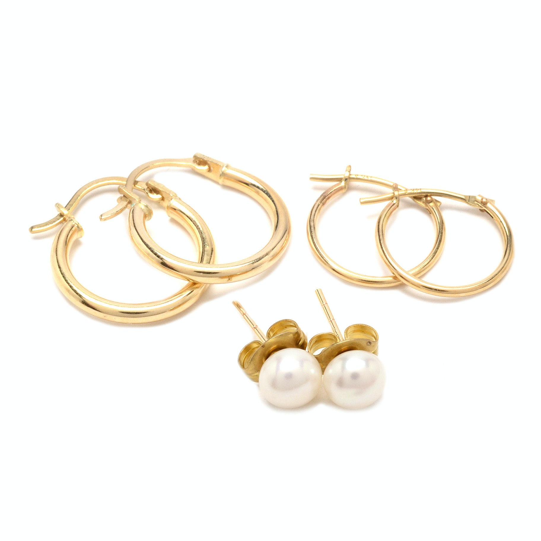 14K Yellow Gold Cultured Pearl and Hoop Earrings