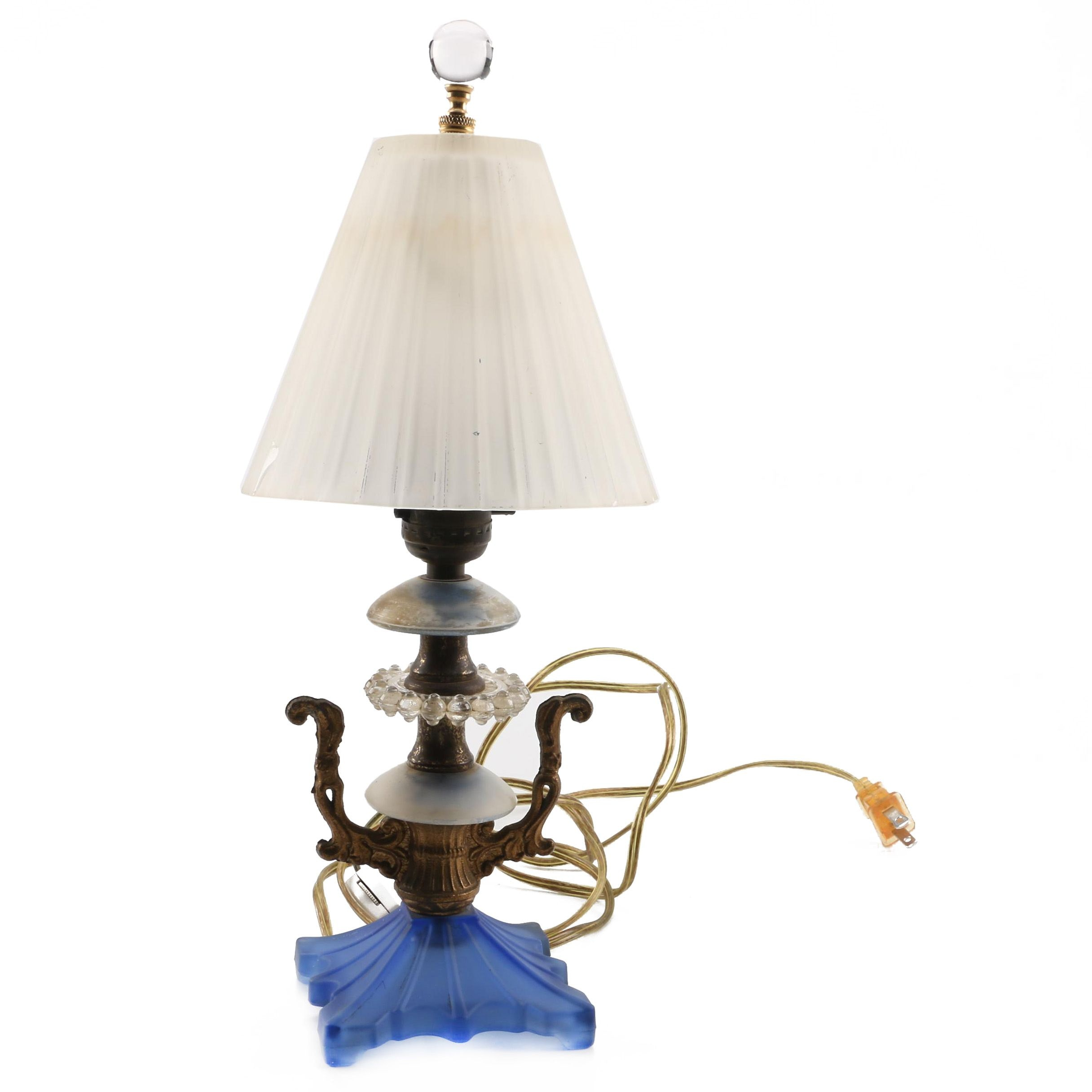 Ornate Glass and Brass Accent Lamp