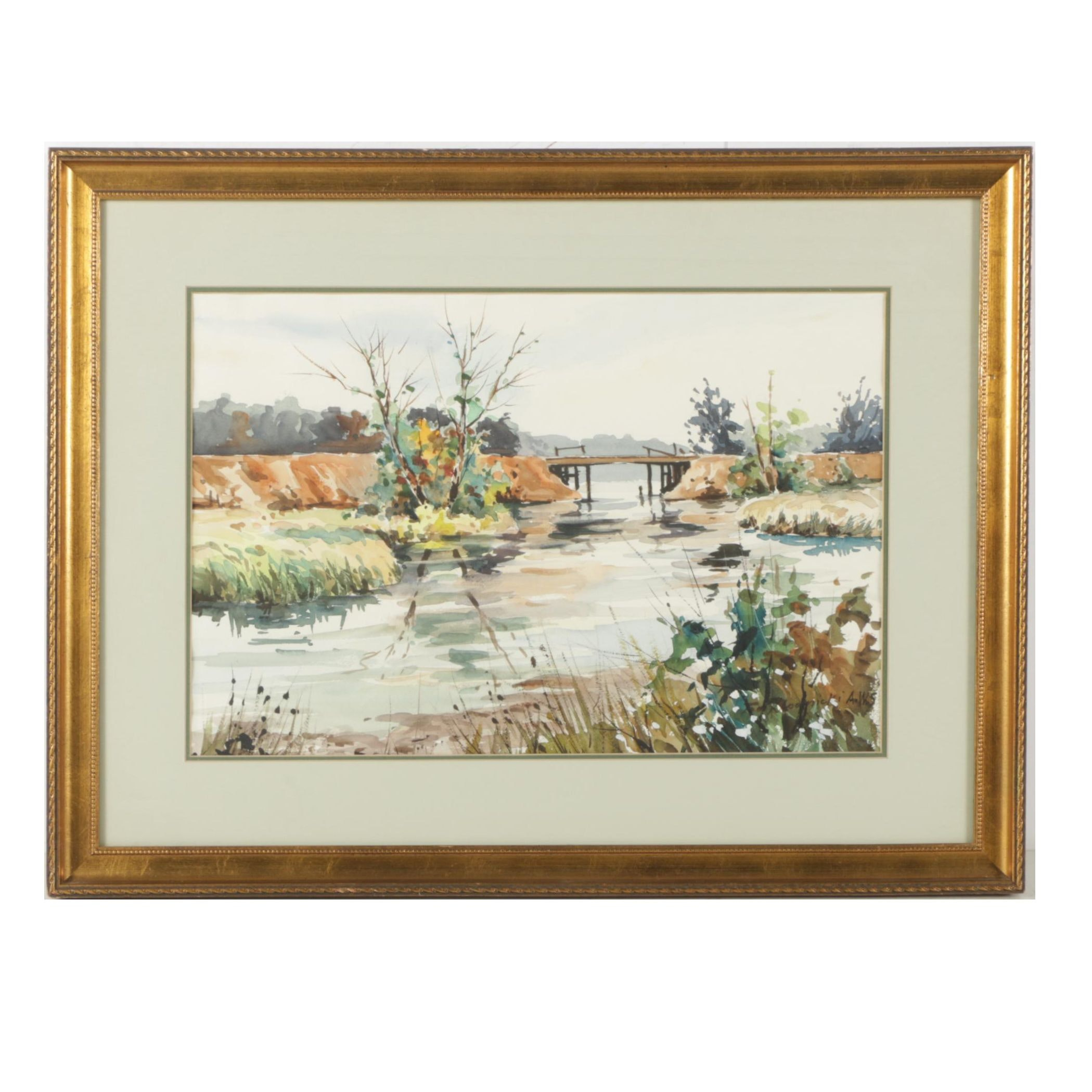 Taddeus Klodnicki Watercolor Painting of a River