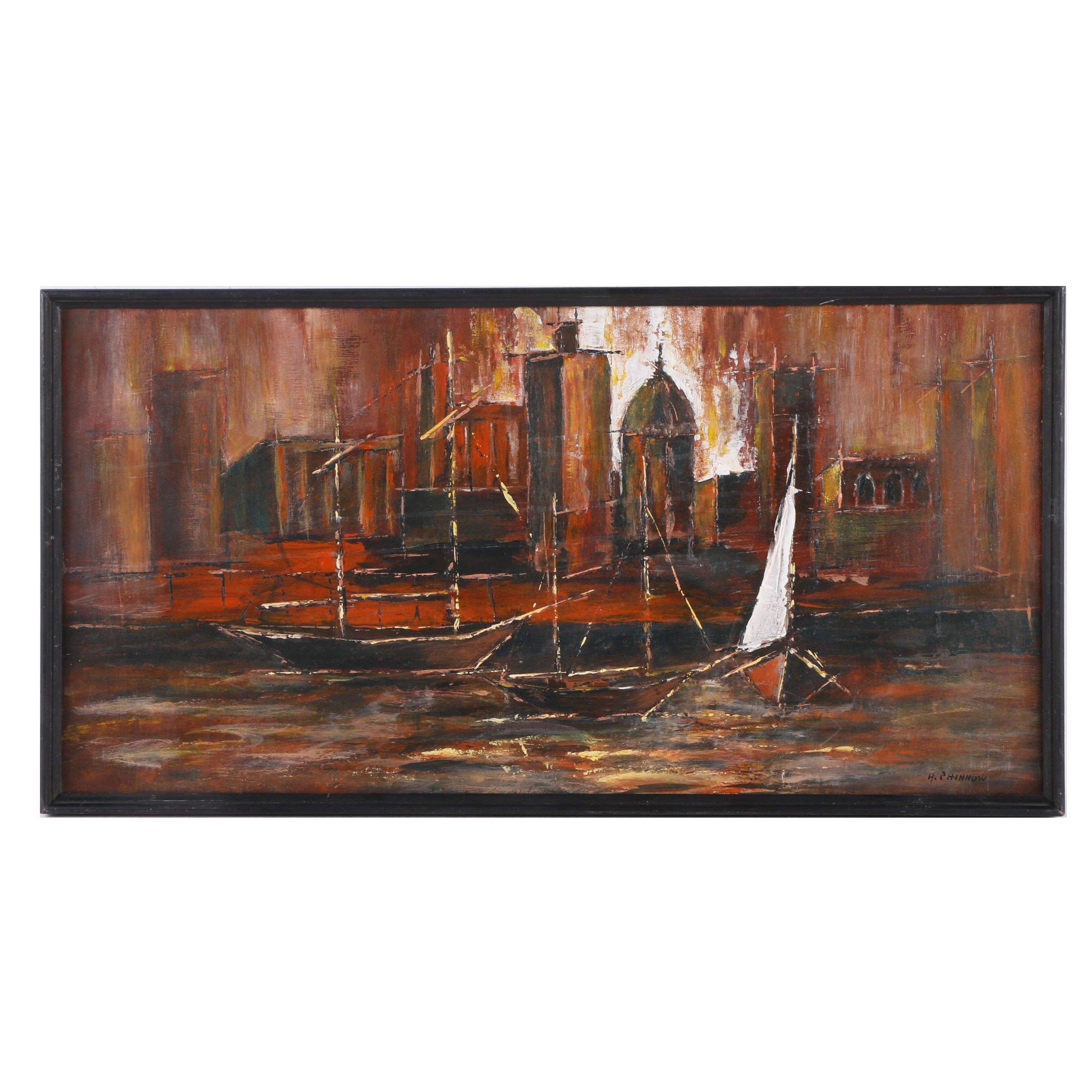 H. Phinnow Oil Painting of City on the Water