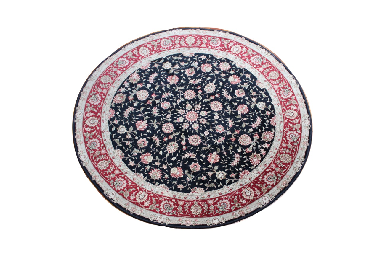 "Circular Power Loomed ""Herati"" Persian-Style Area Rug"