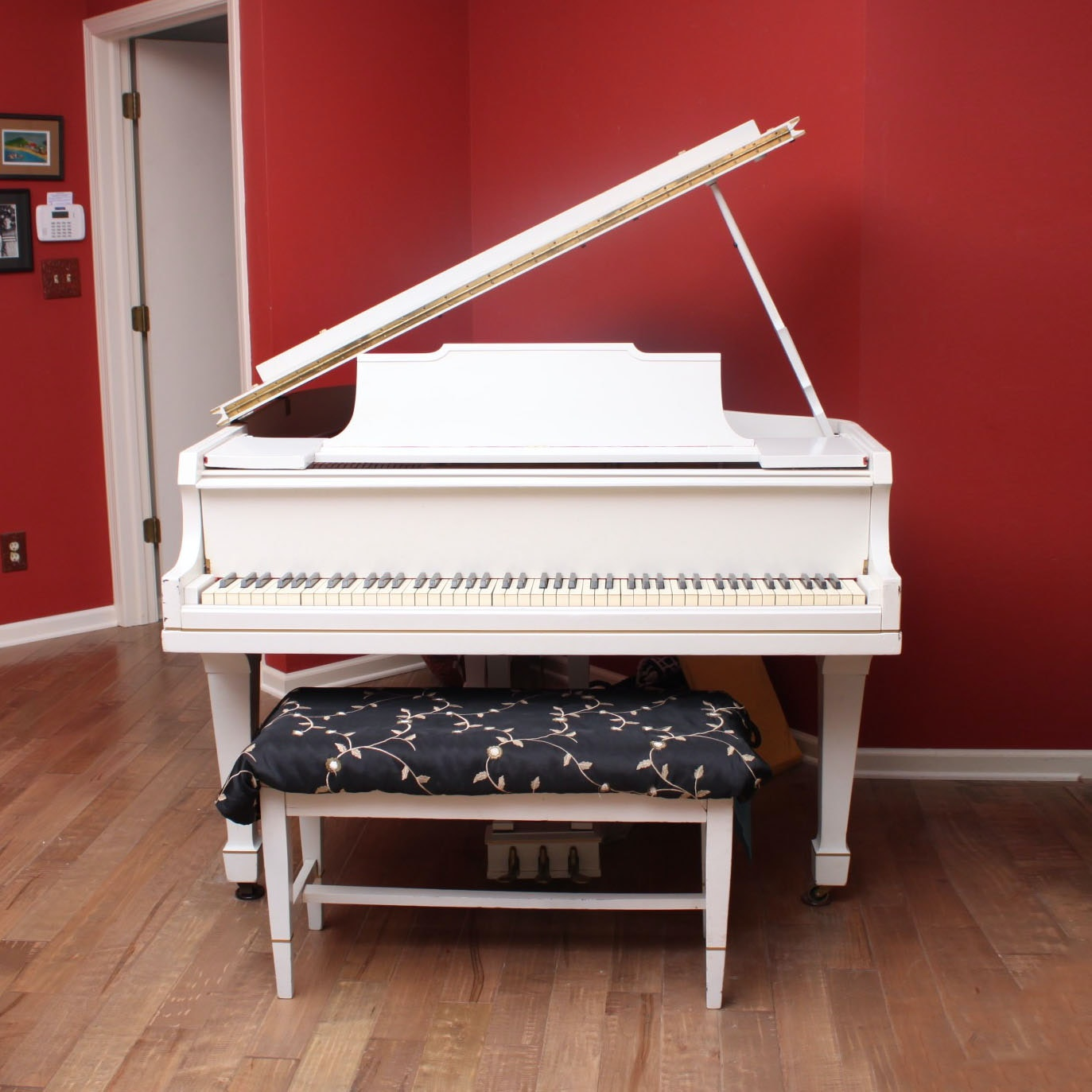 Bush & Gerts White Baby Grand Piano