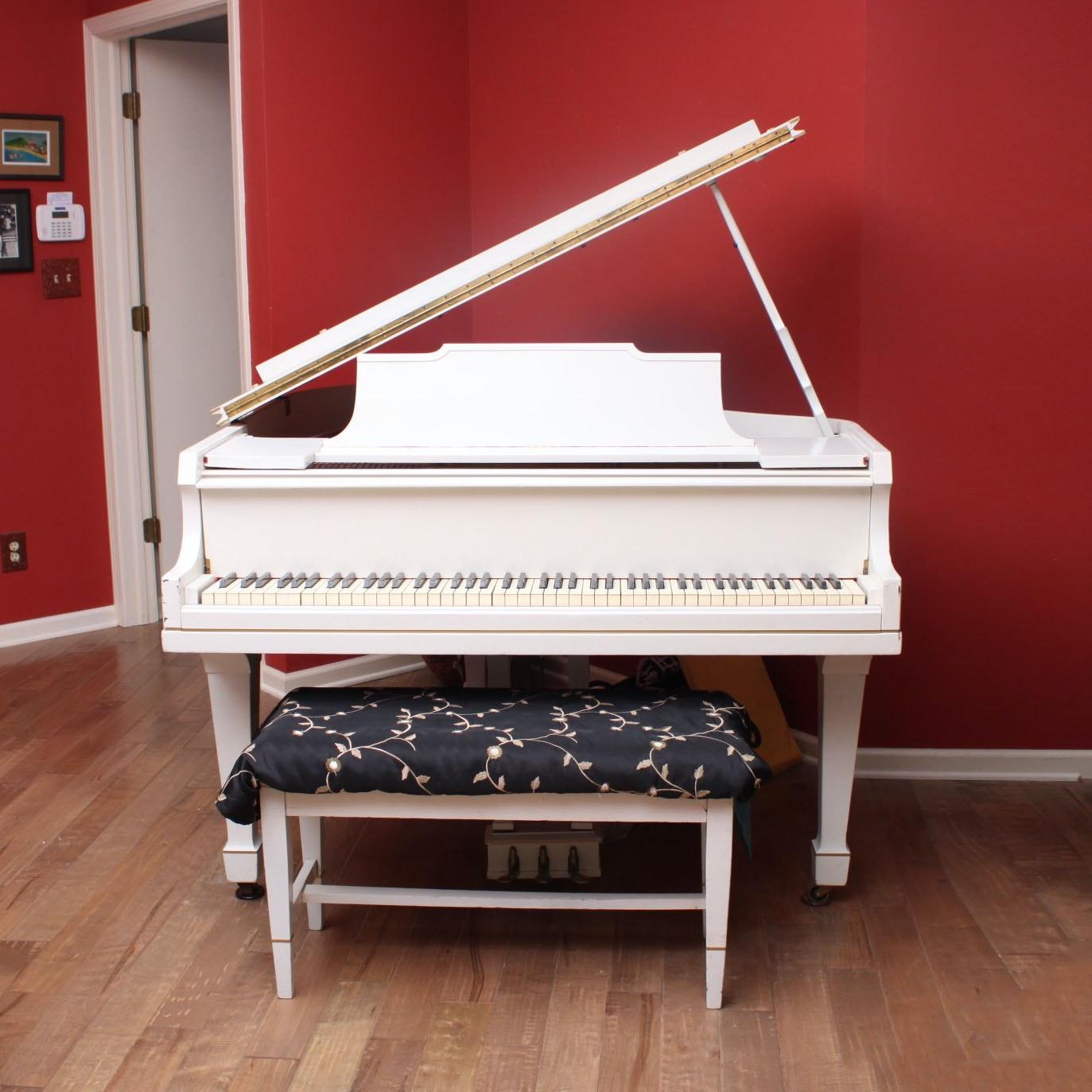 Bush & Gerts White Baby Grand Piano