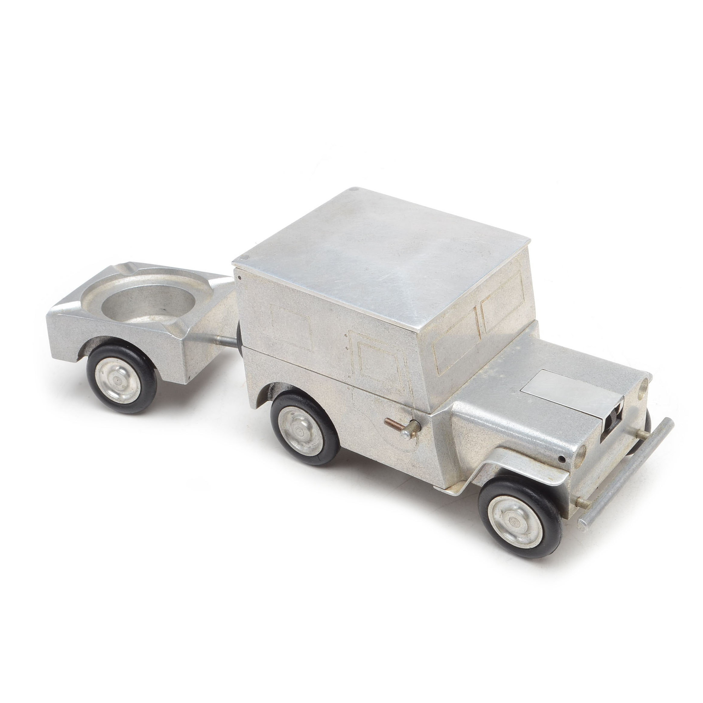 Vintage Aluminum Jeep Lighter with Ashtray Trailer