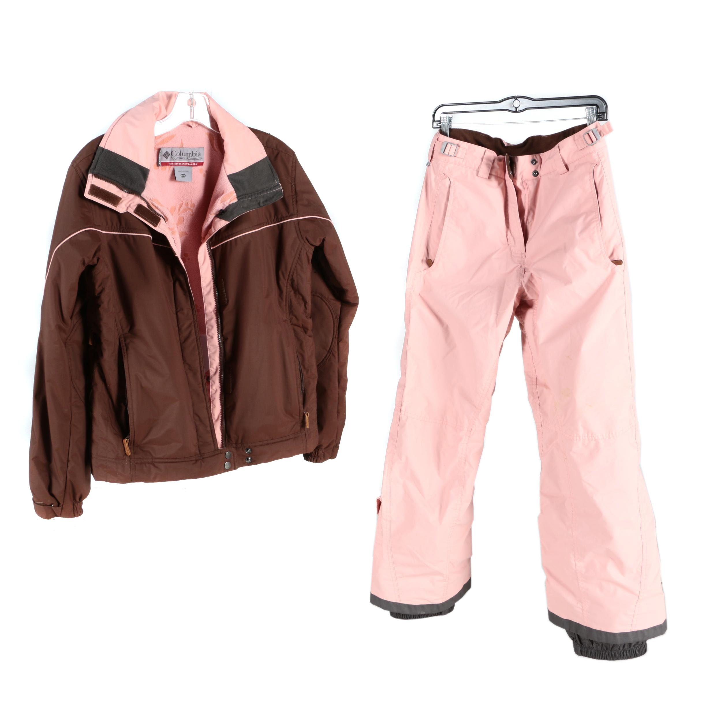 Girls' Columbia Convert Brown and Pink Snowsuit