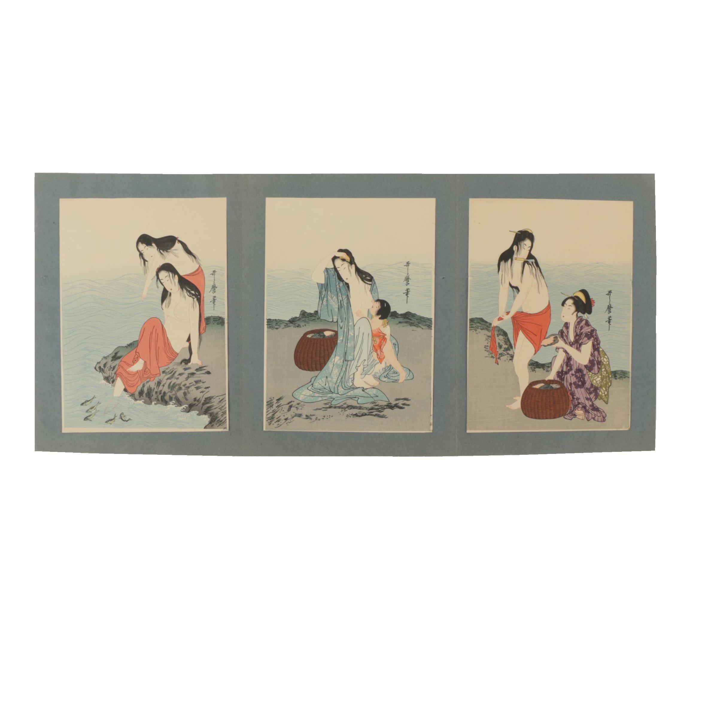 "Restrike Woodblocks After Kitagawa Utamaro's ""Abalone Divers"""