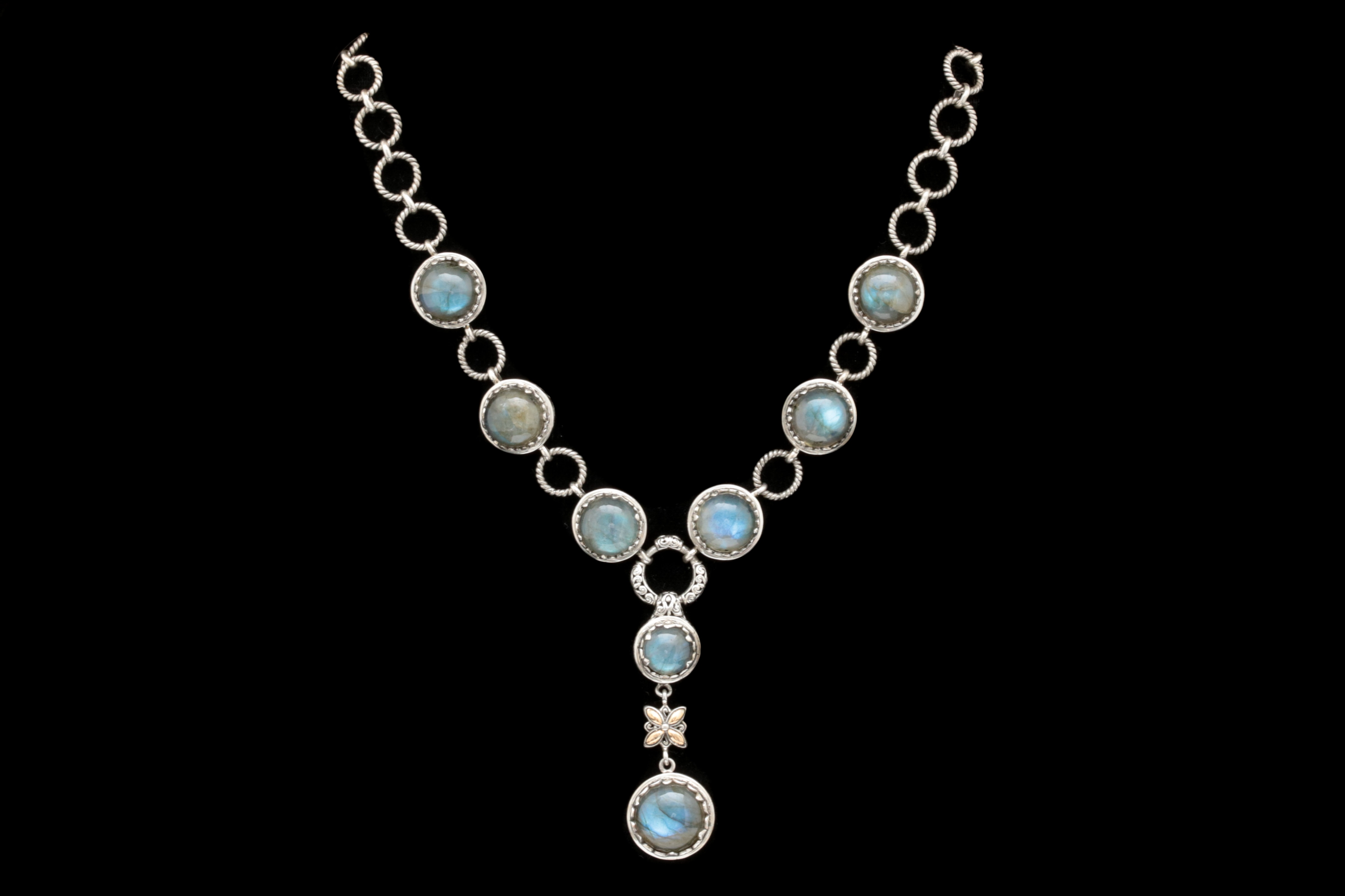 Robert Manse Sterling Silver, 18K Yellow Gold and Labradorite Necklace