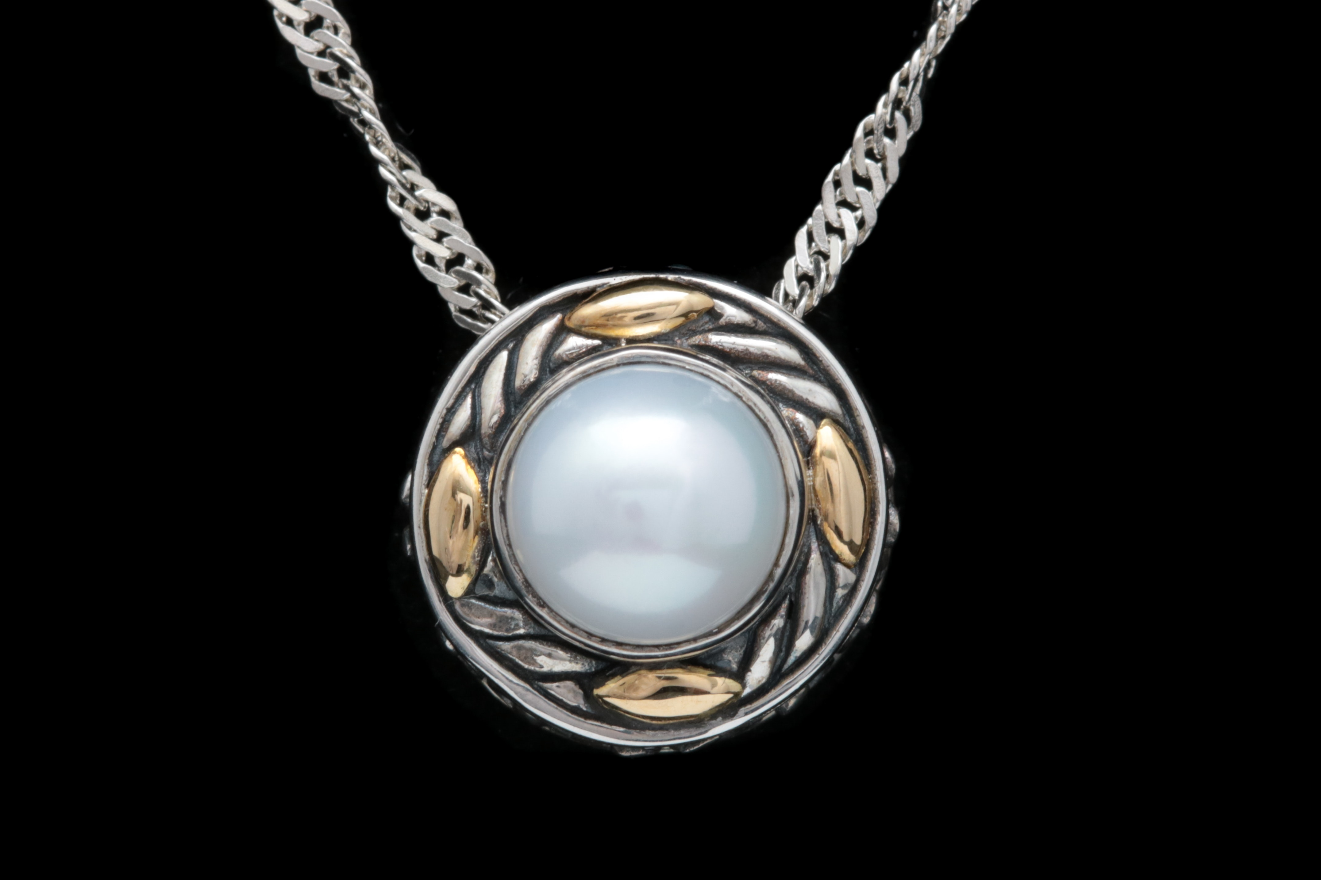 Robert Manse Sterling Silver, 18K Yellow Gold and Pearl Pendant with Chain
