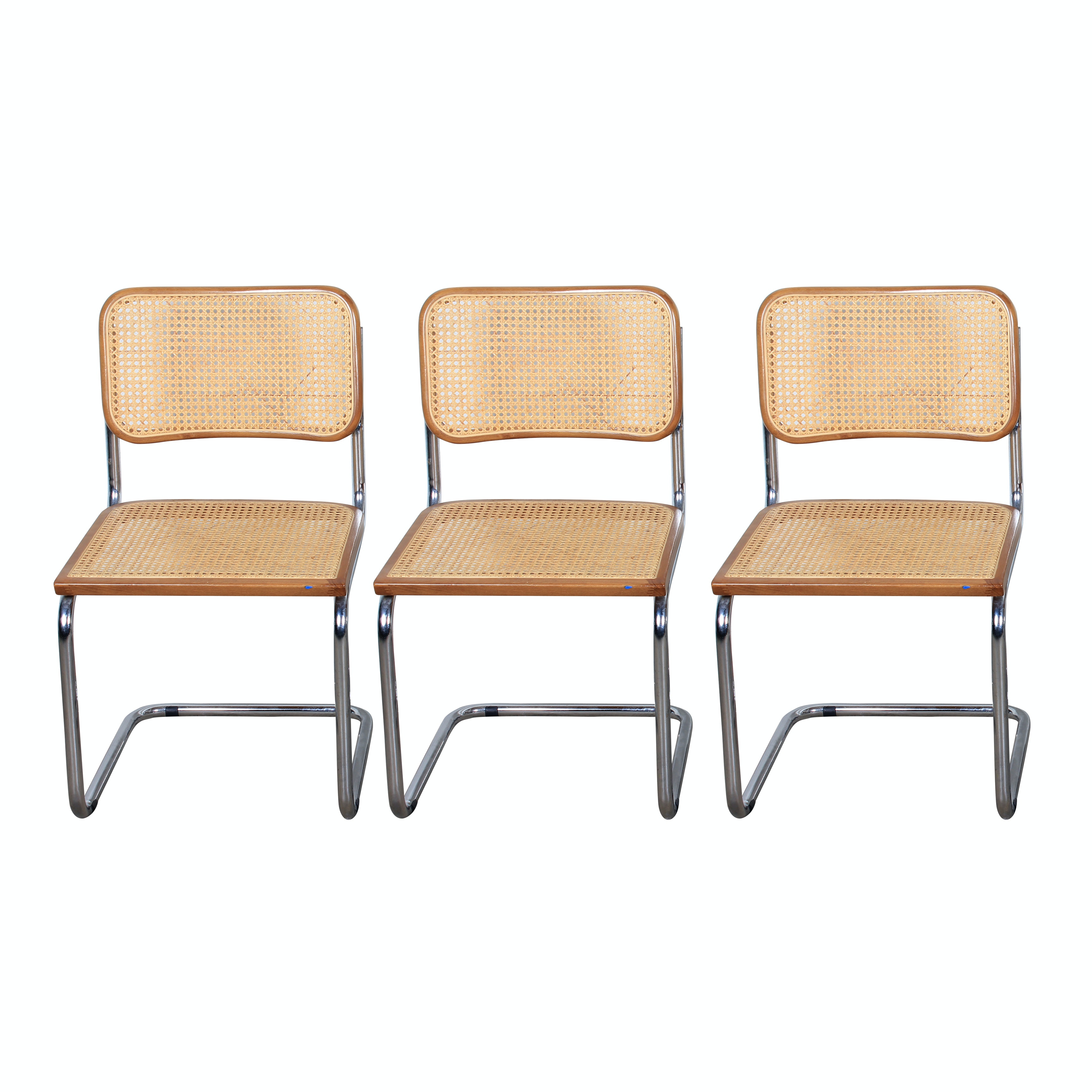 Three Marcel Breuer Style Mid Century Modern Cantilevered Chairs