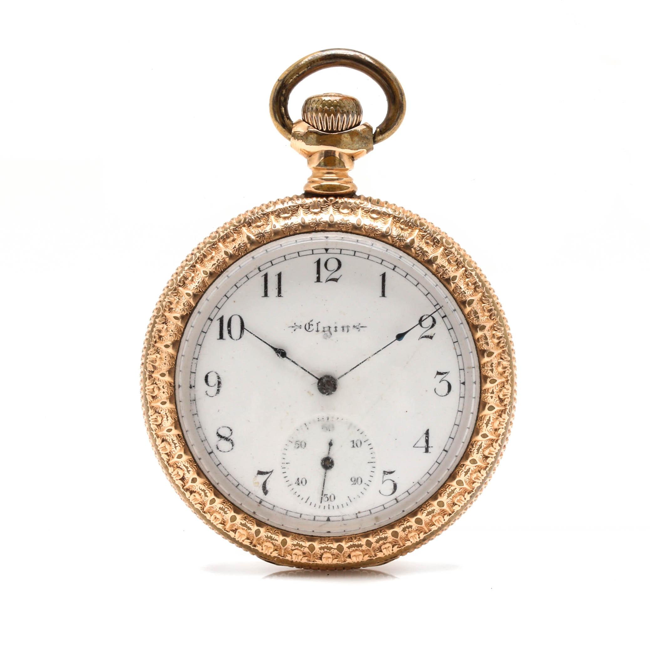 Antique Elgin 9K Gold Filled Open Face Ornate Pocket Watch