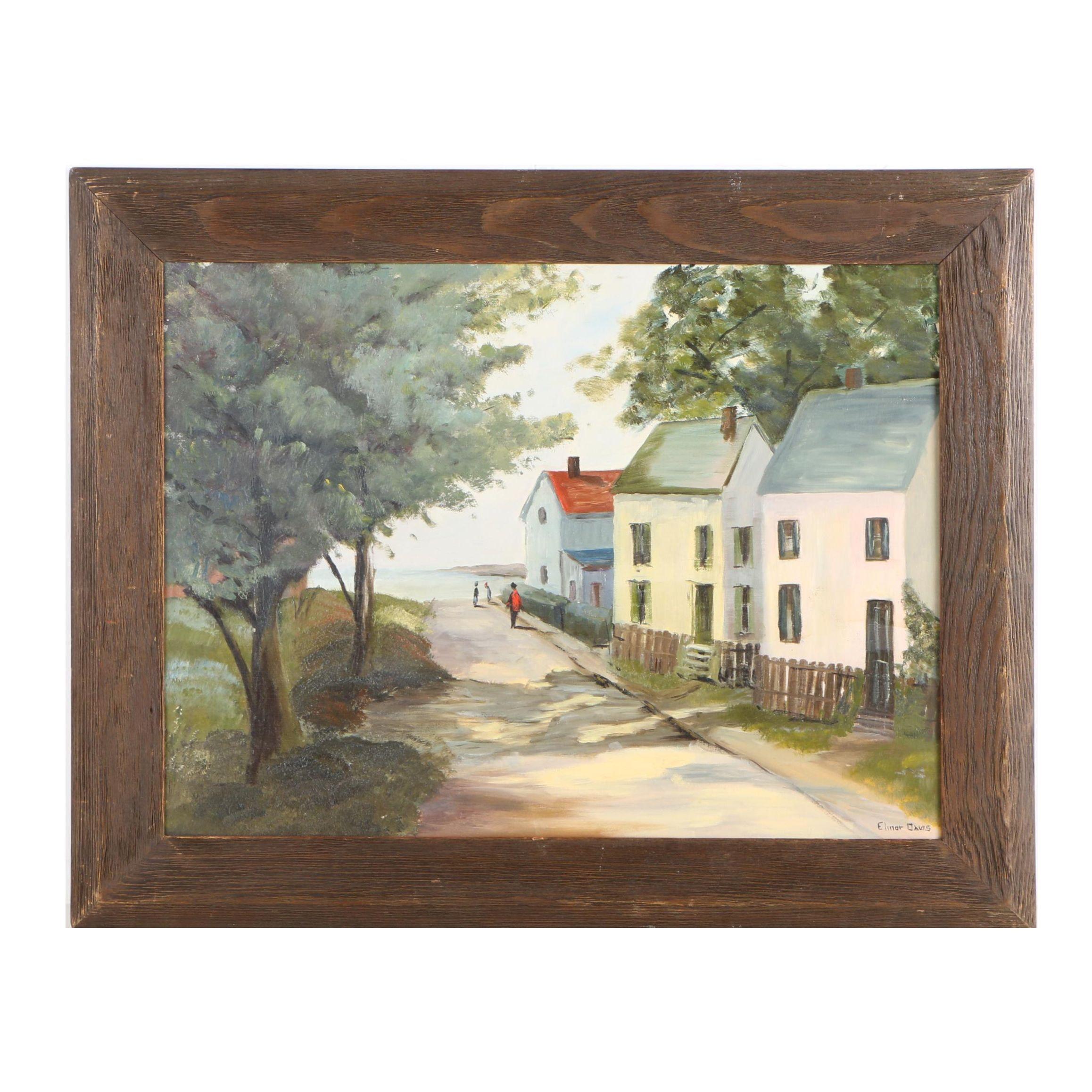 "Elinor Davis Oil Painting ""Street Scene - Rockport, Mass."""