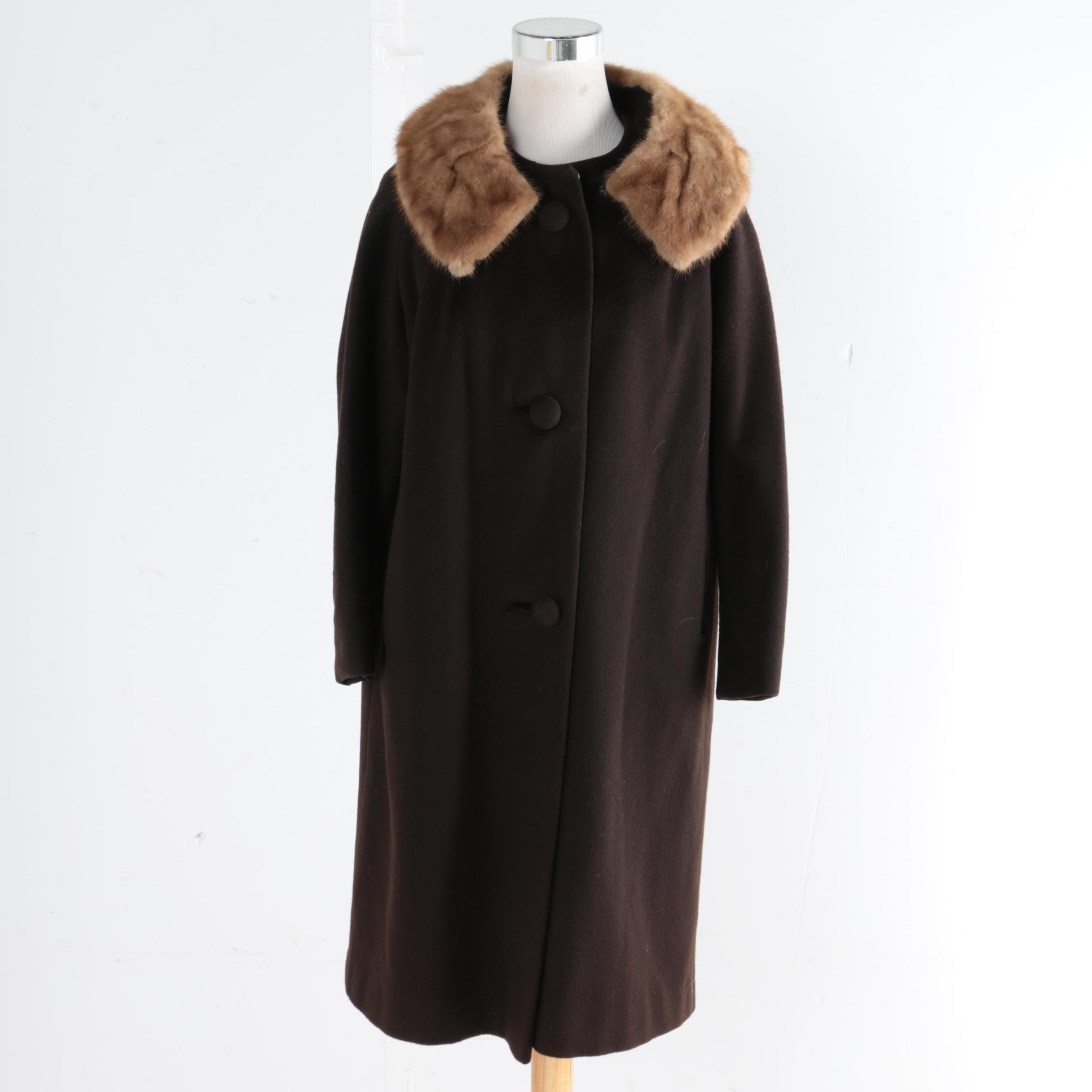 Vintage Michel Daniel Wool Coat with Mink Collar