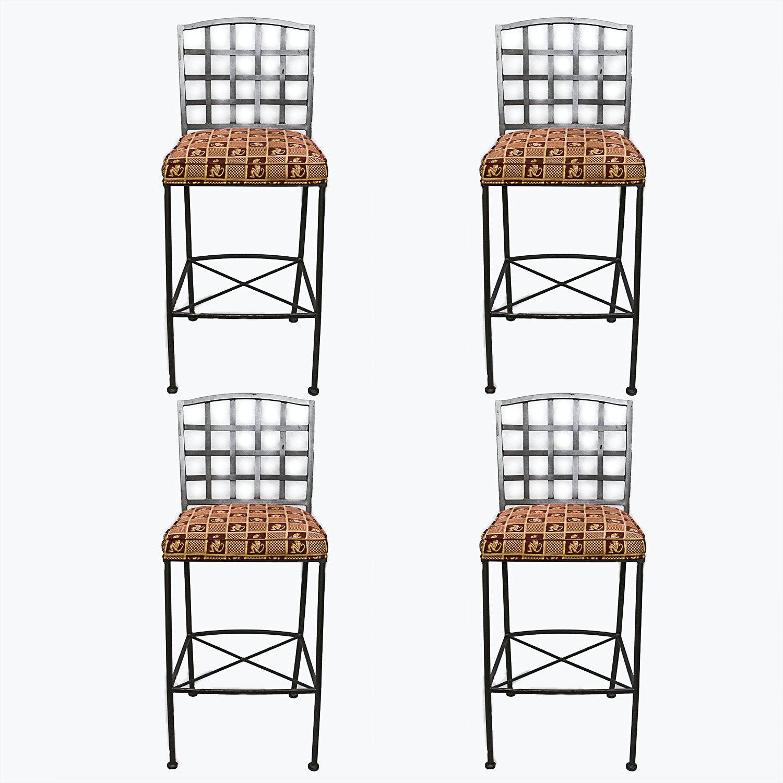 Four Upholstered Metal Barstools