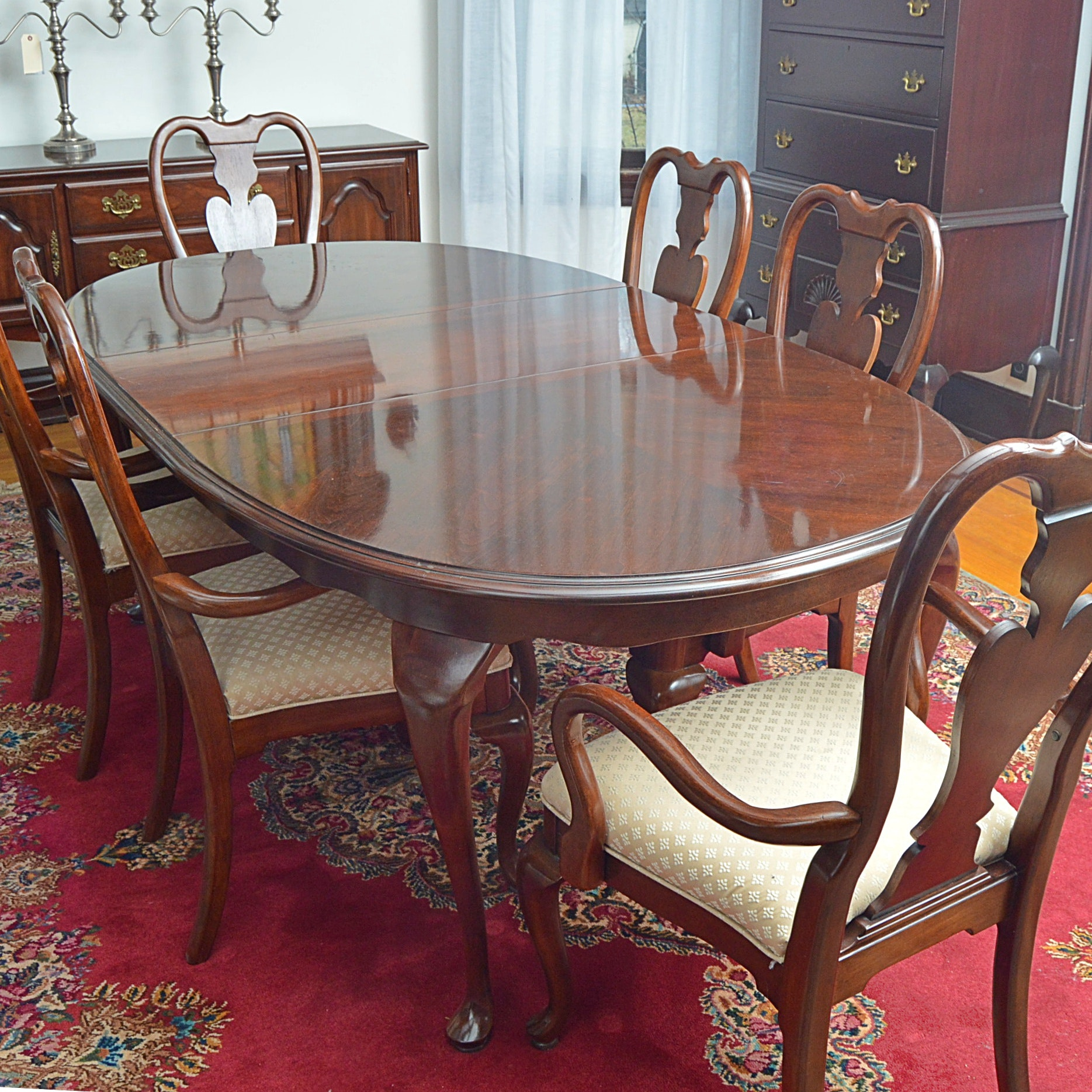 Queen Anne Style Mahogany Dining Set