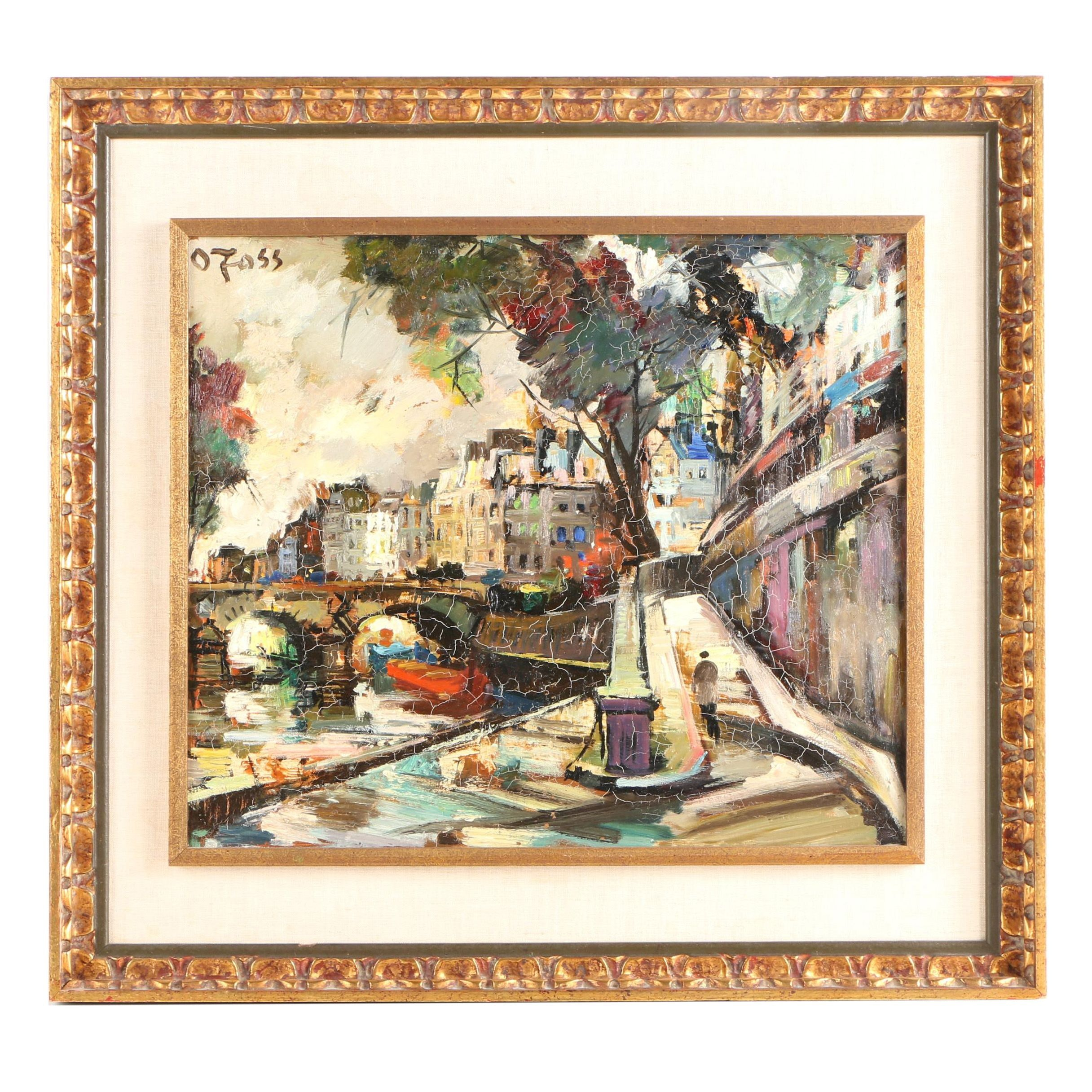 Olivier Foss Oil Painting of a Street Scene on the River
