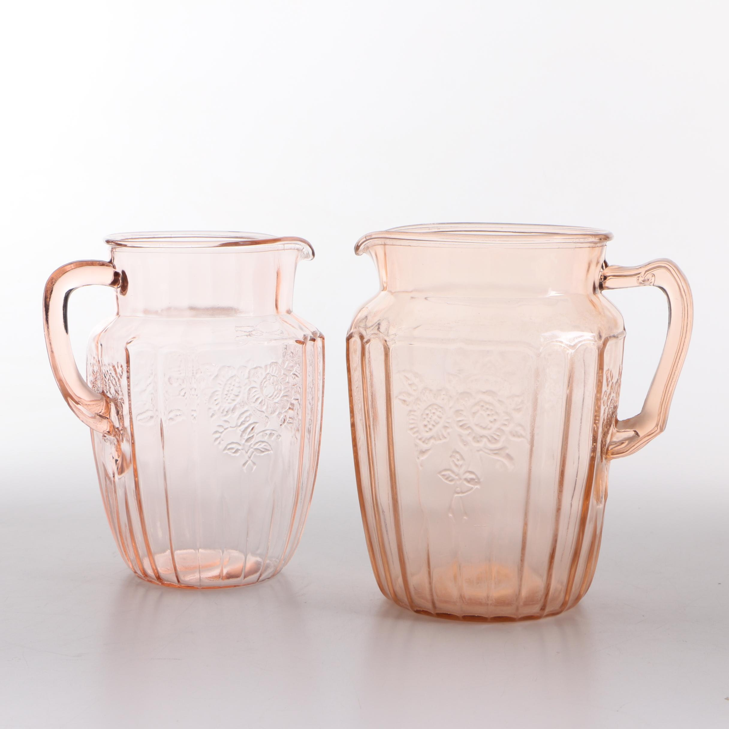 """Anchor Hocking """"Mayfair Pink"""" Depression Glass Pitchers"""