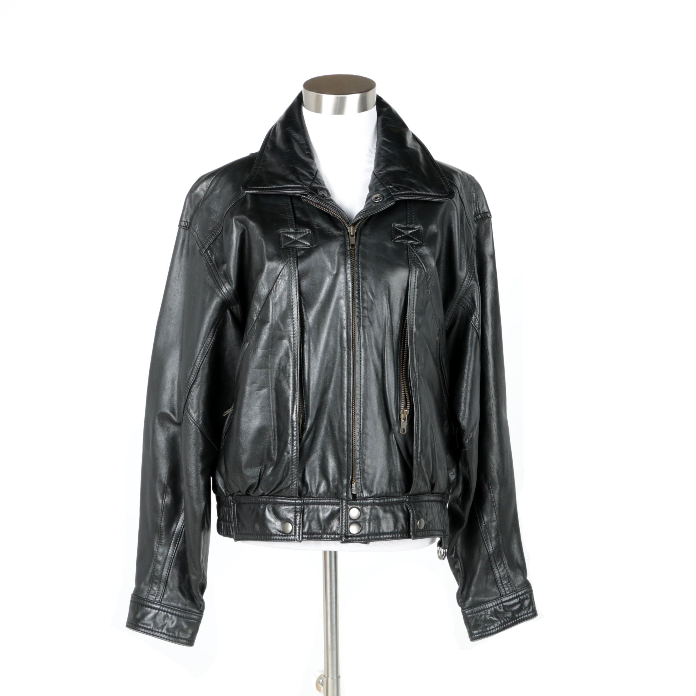 Women's Philippe Monet Black Leather Jacket