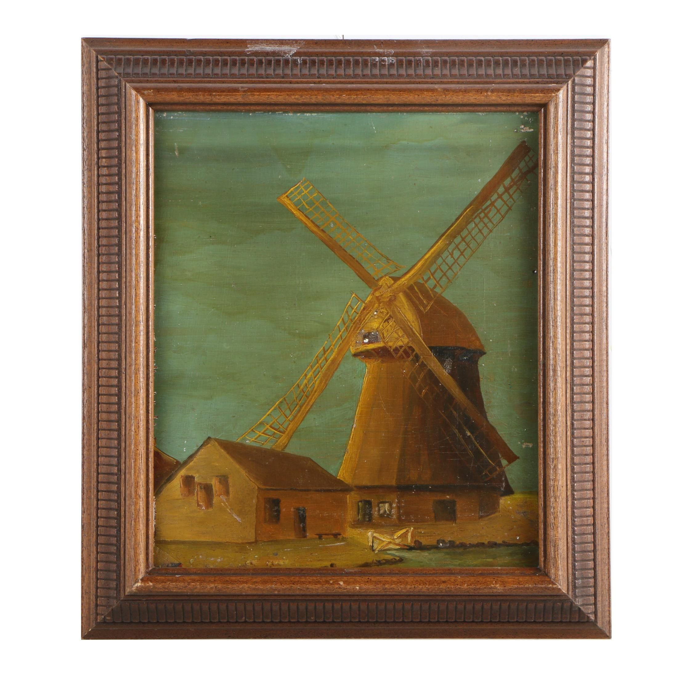 Oil Painting of a Farmhouse and Windmill