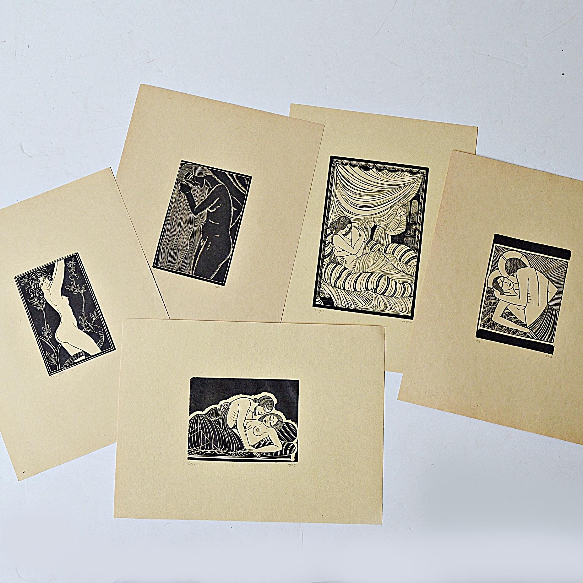 1920s-1930s Art Deco Erotica Woodblock Prints After Eric Gill