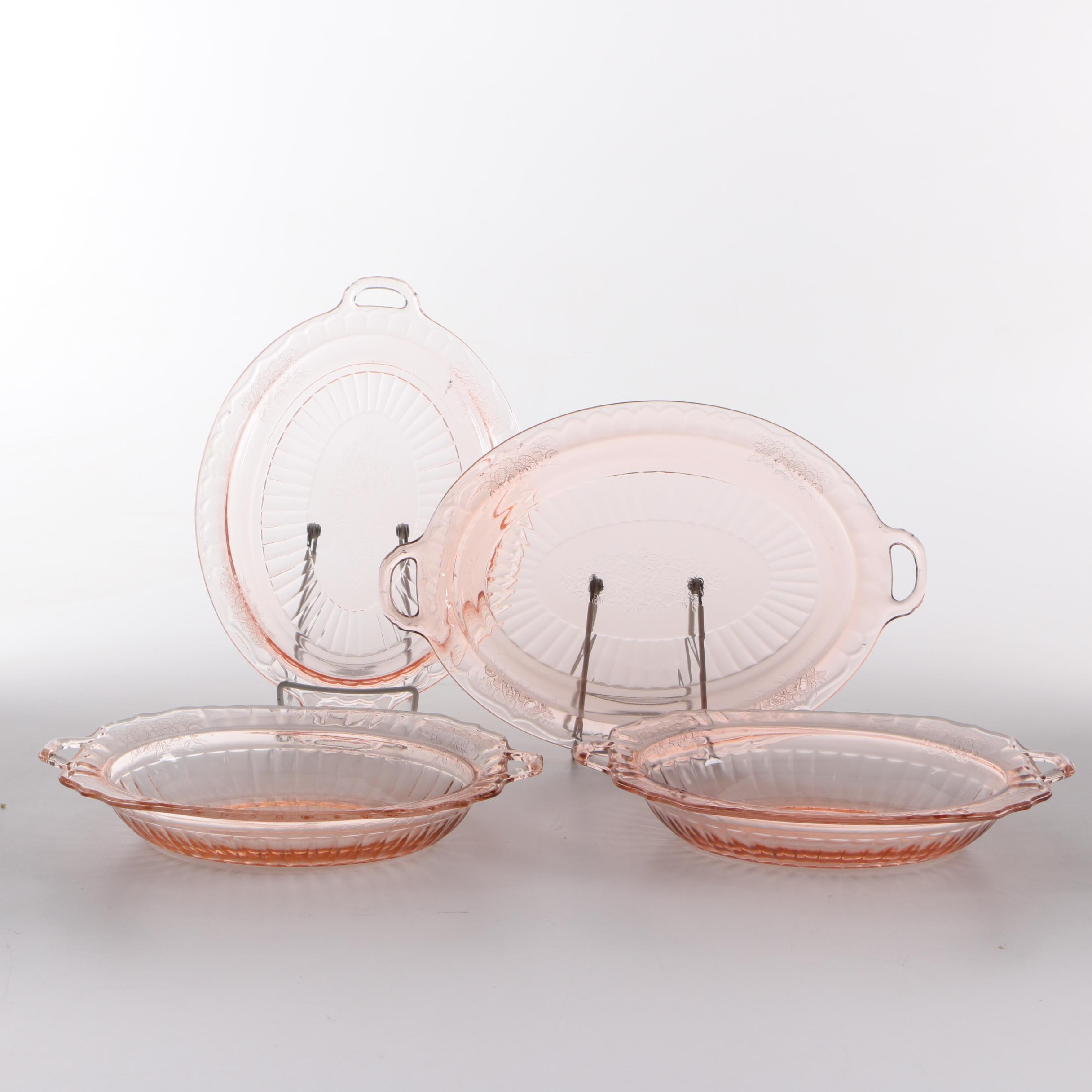 """Anchor Hocking """"Mayfair Pink"""" Depression Glass Serving Dishes"""