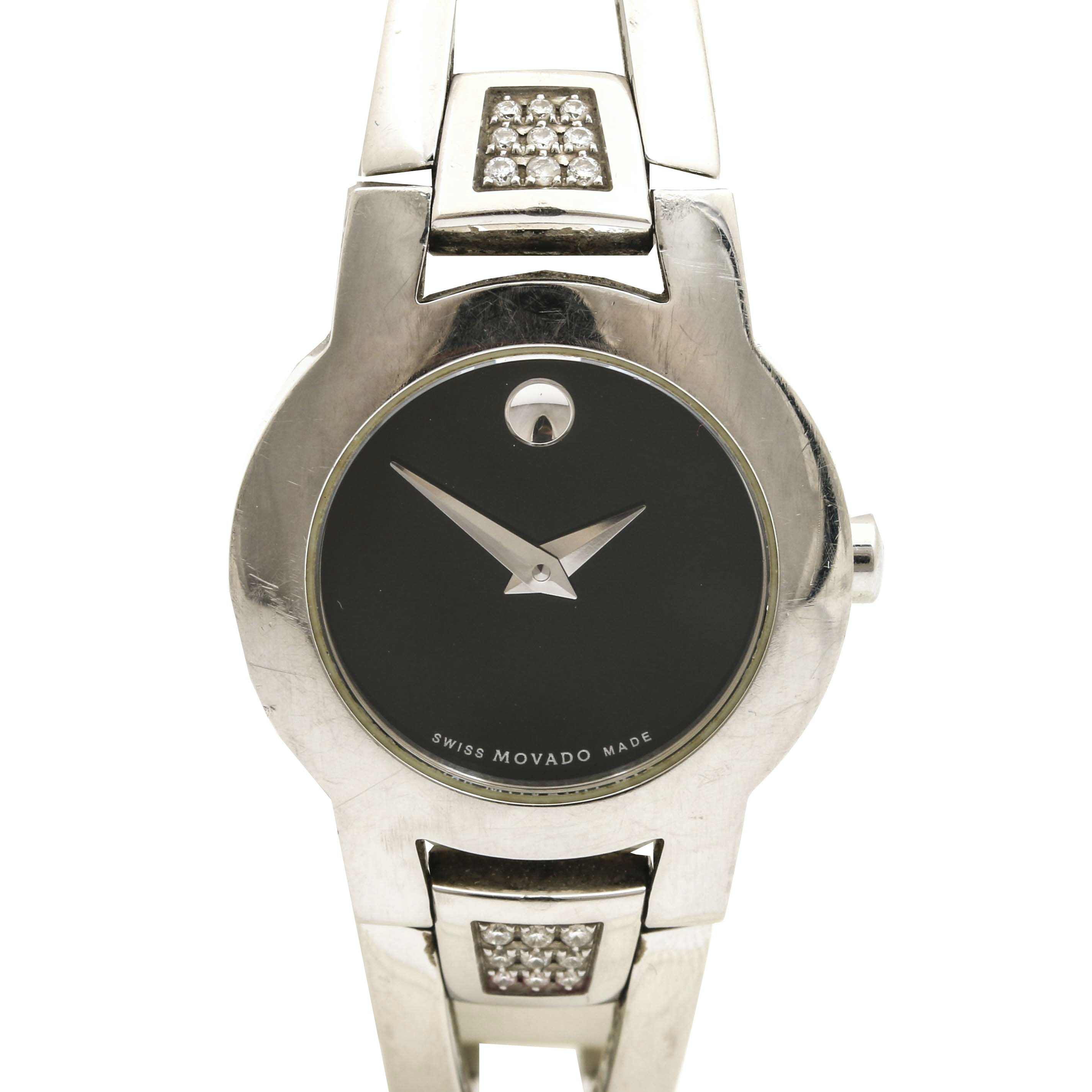 Movado Stainless Steel Diamond Museum Watch