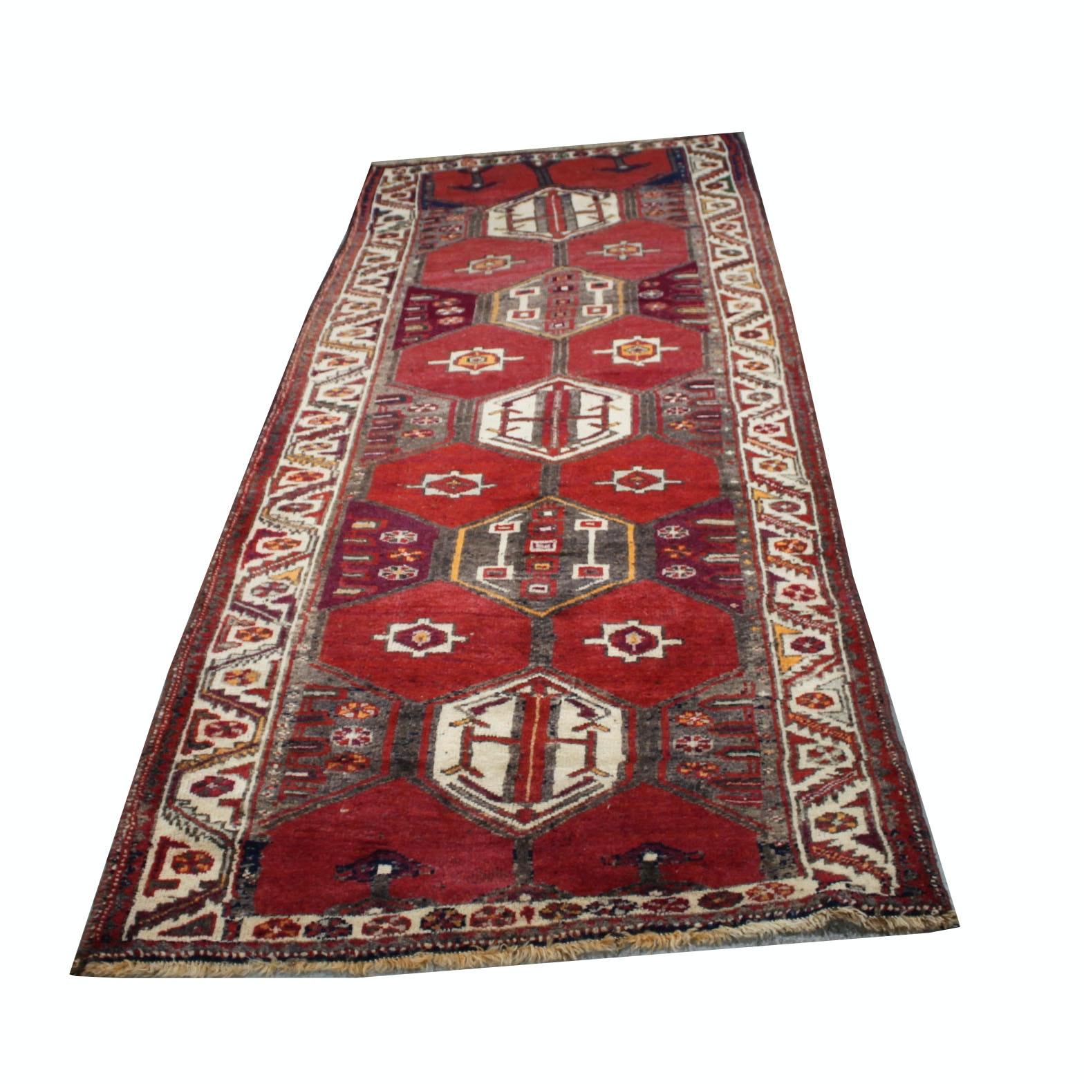 Vintage Hand-Knotted Persian Karaja Heriz Wool Carpet Runner