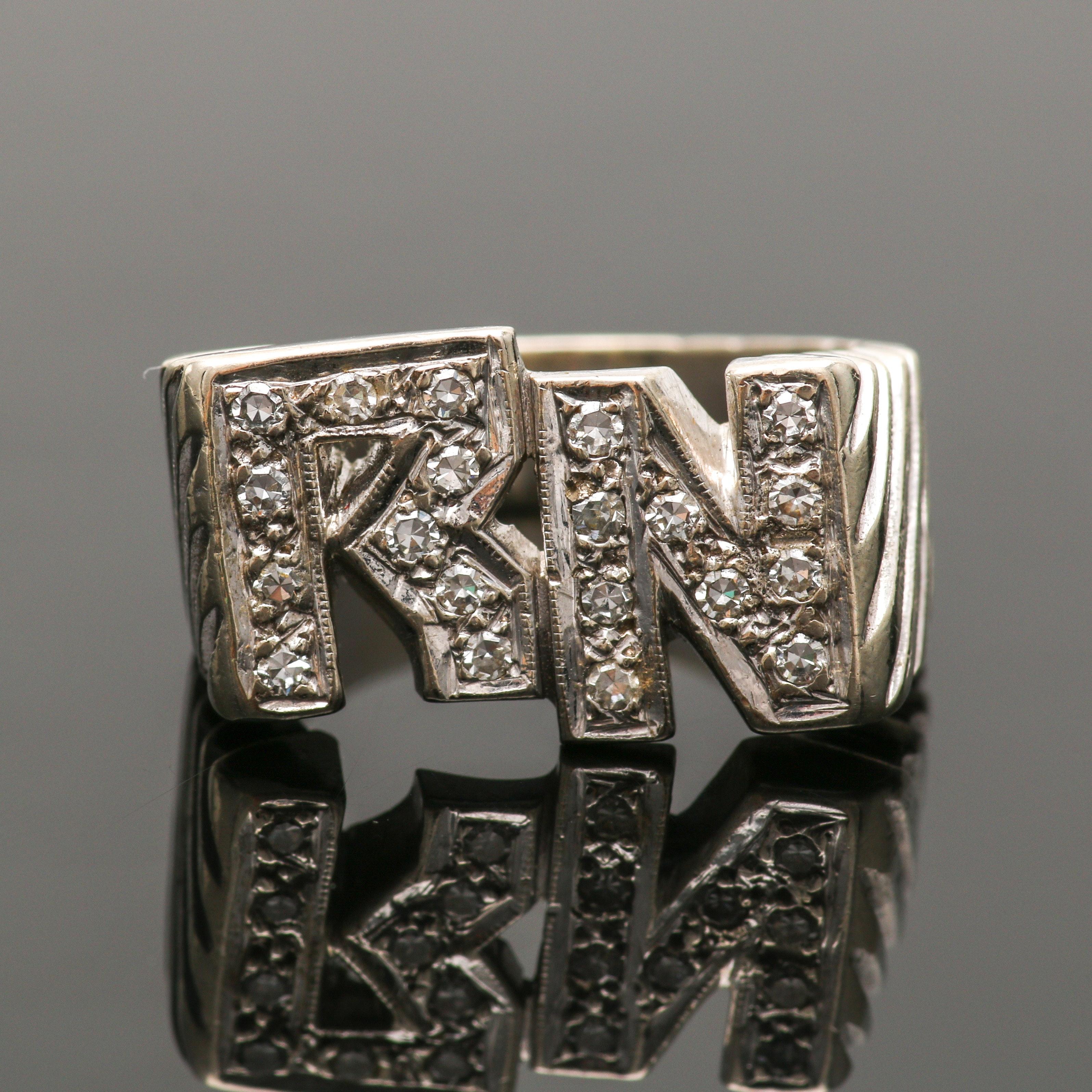 14K White Gold Diamond Initial Ring