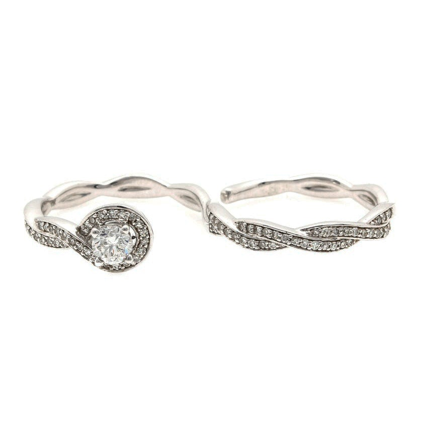 10K White Gold 0.60 CTW Diamond Double Finger Ring