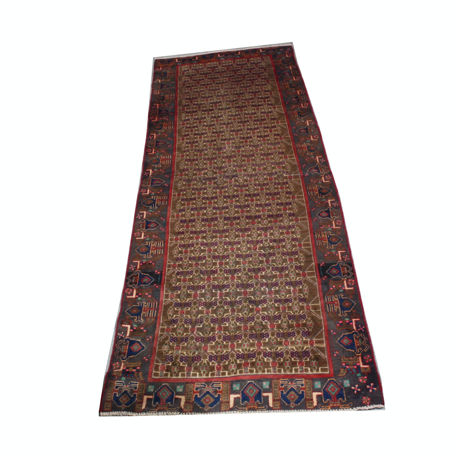 Vintage Hand-Knotted Persian Seneh Bijar Wool Carpet Runner